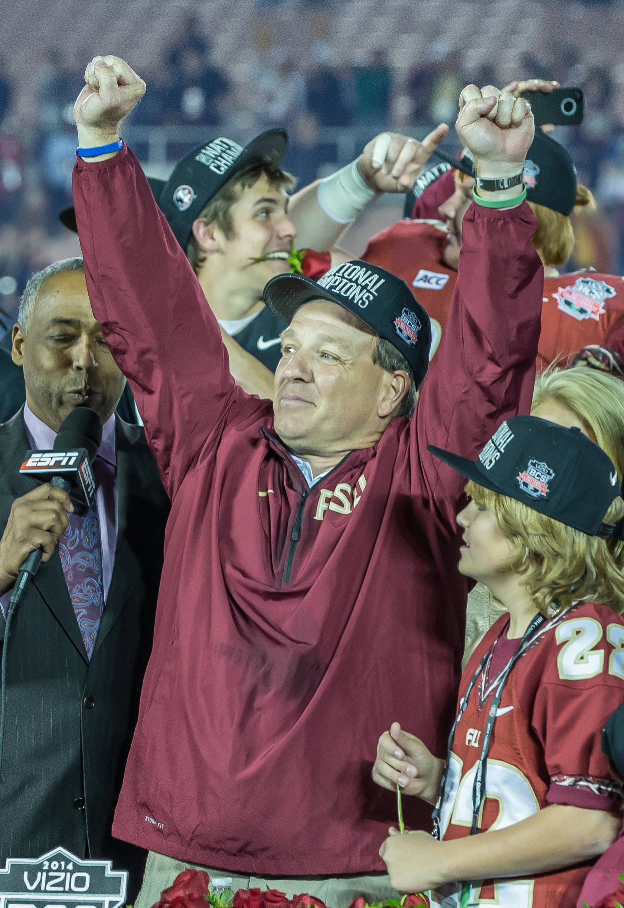 Jimbo Fisher exalts over winning the Championship.