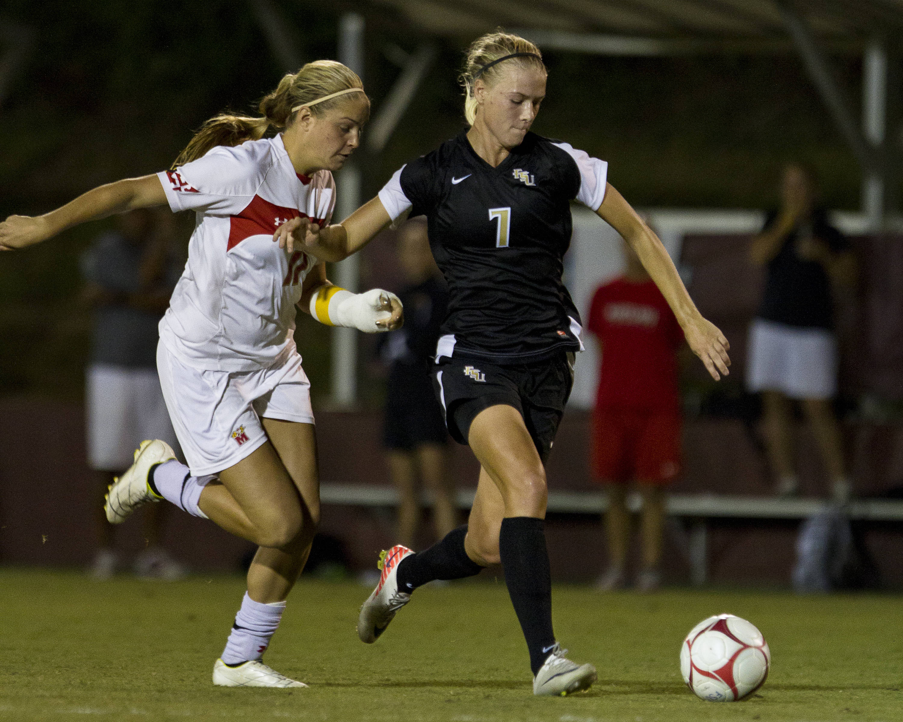 Dagny Brynjarsdottir (7) carries the ball down field during the game against Maryland on October 13, 2011.