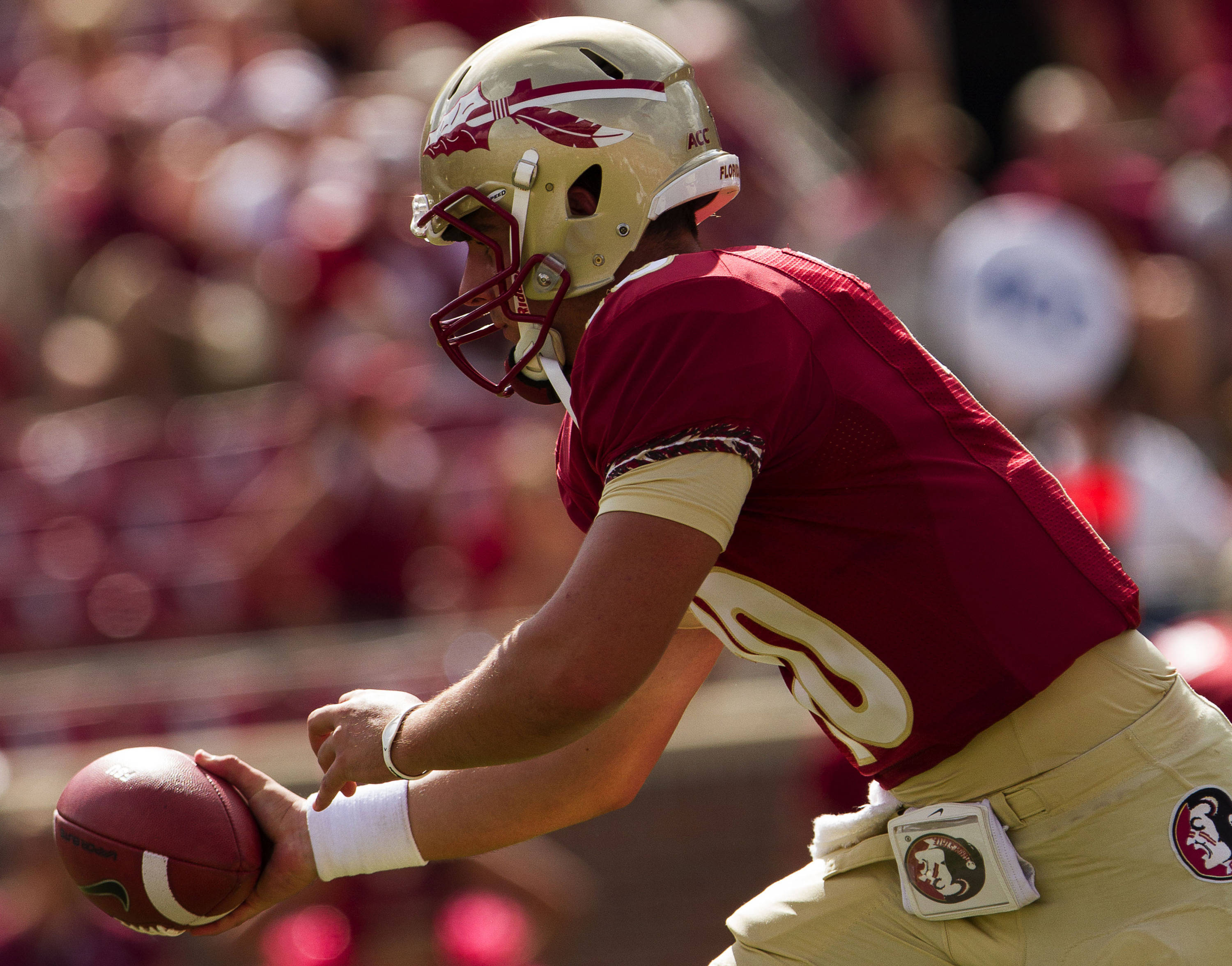 Sean Maguire (10) makes a handoff during FSU Football's 63-0 shutout of Maryland on Saturday, October 5, 2013 in Tallahassee, Fla.