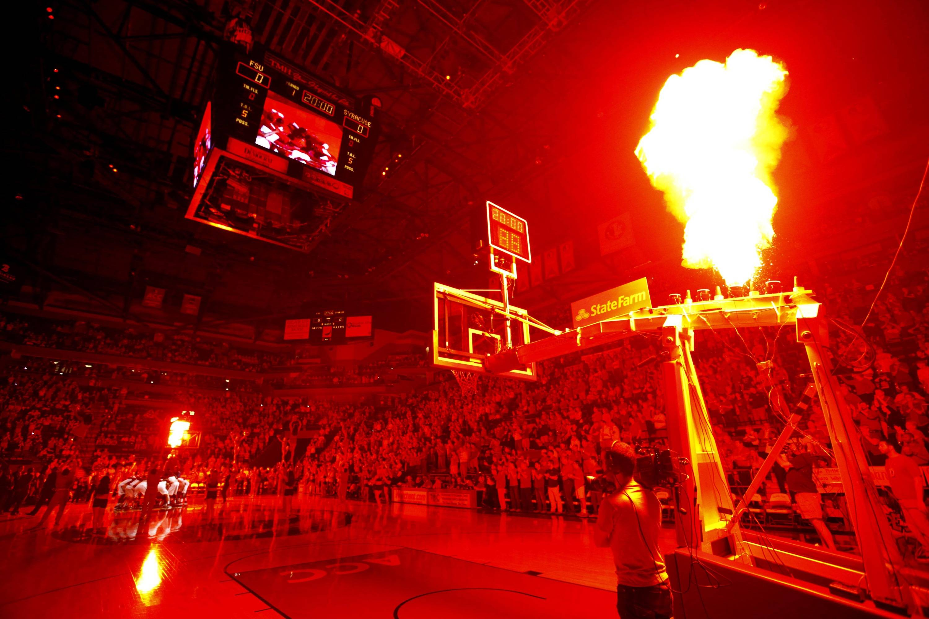 Mar 9, 2014; Tallahassee, FL, USA; Fireworks go off during player introductions before the first half of the game between the Florida State Seminoles and Syracuse Orange at Donald L. Tucker Center. Syracuse defeated Florida State 74-58. Mandatory Credit: Matt Stamey-USA TODAY Sports