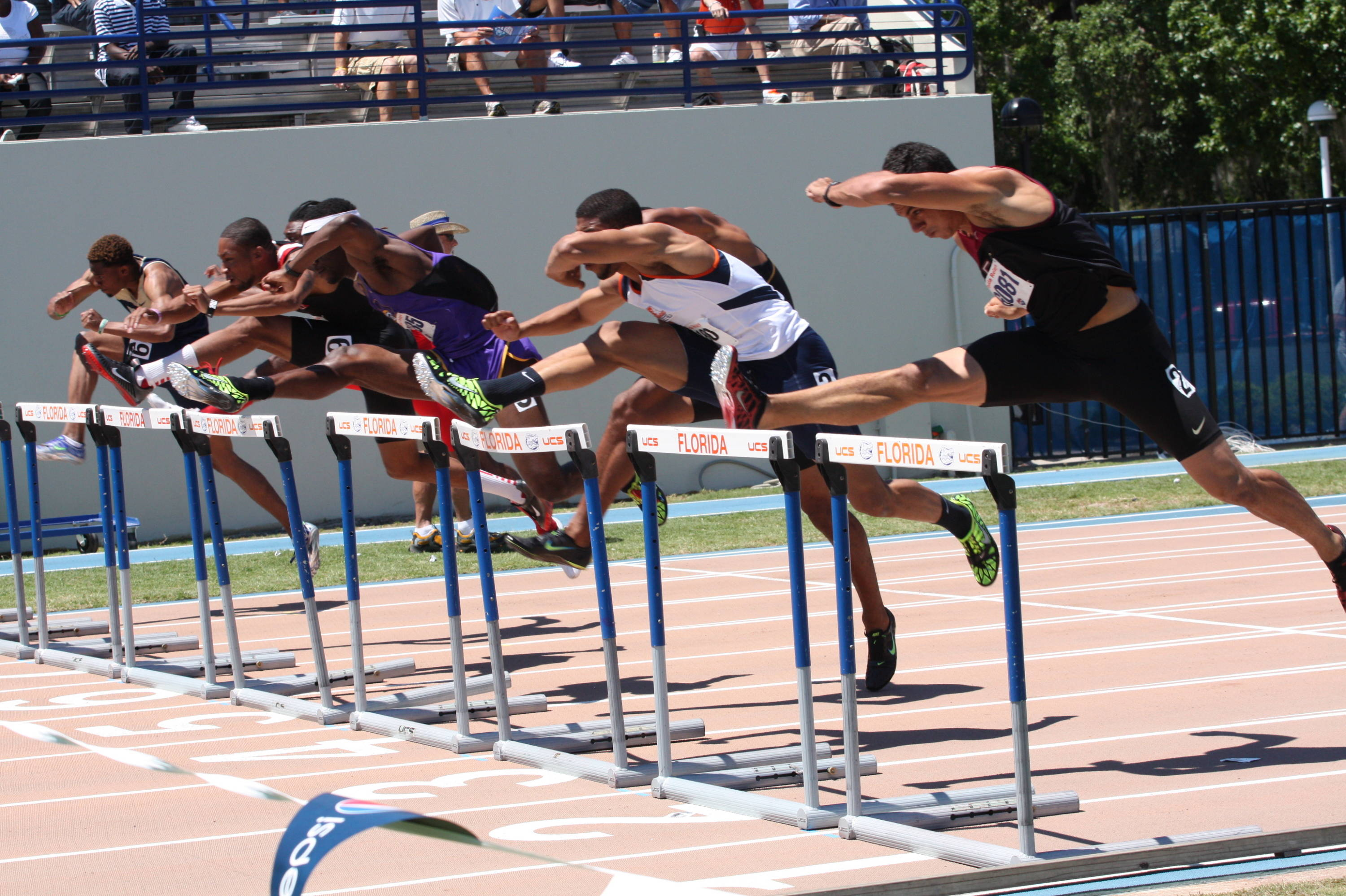Gonzalo Barroilhet on his was to a strong finish in the 110-meter hurdles