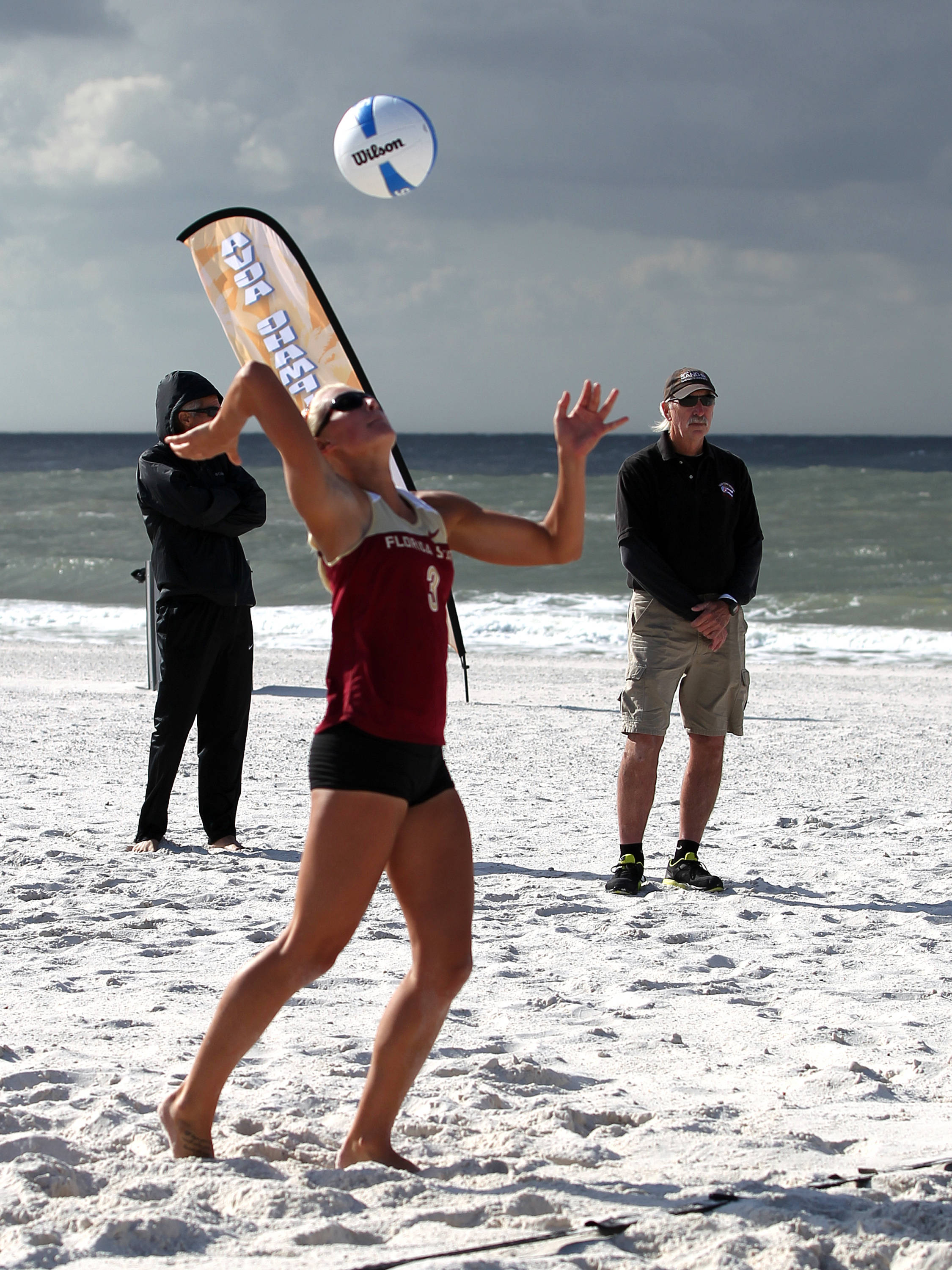 Julie Brown, AVCA Collegiate Sand Volleyball National  Championships - Pairs,  Gulf Shores, Alabama, 05/05/13 . (Photo by Steve Musco)