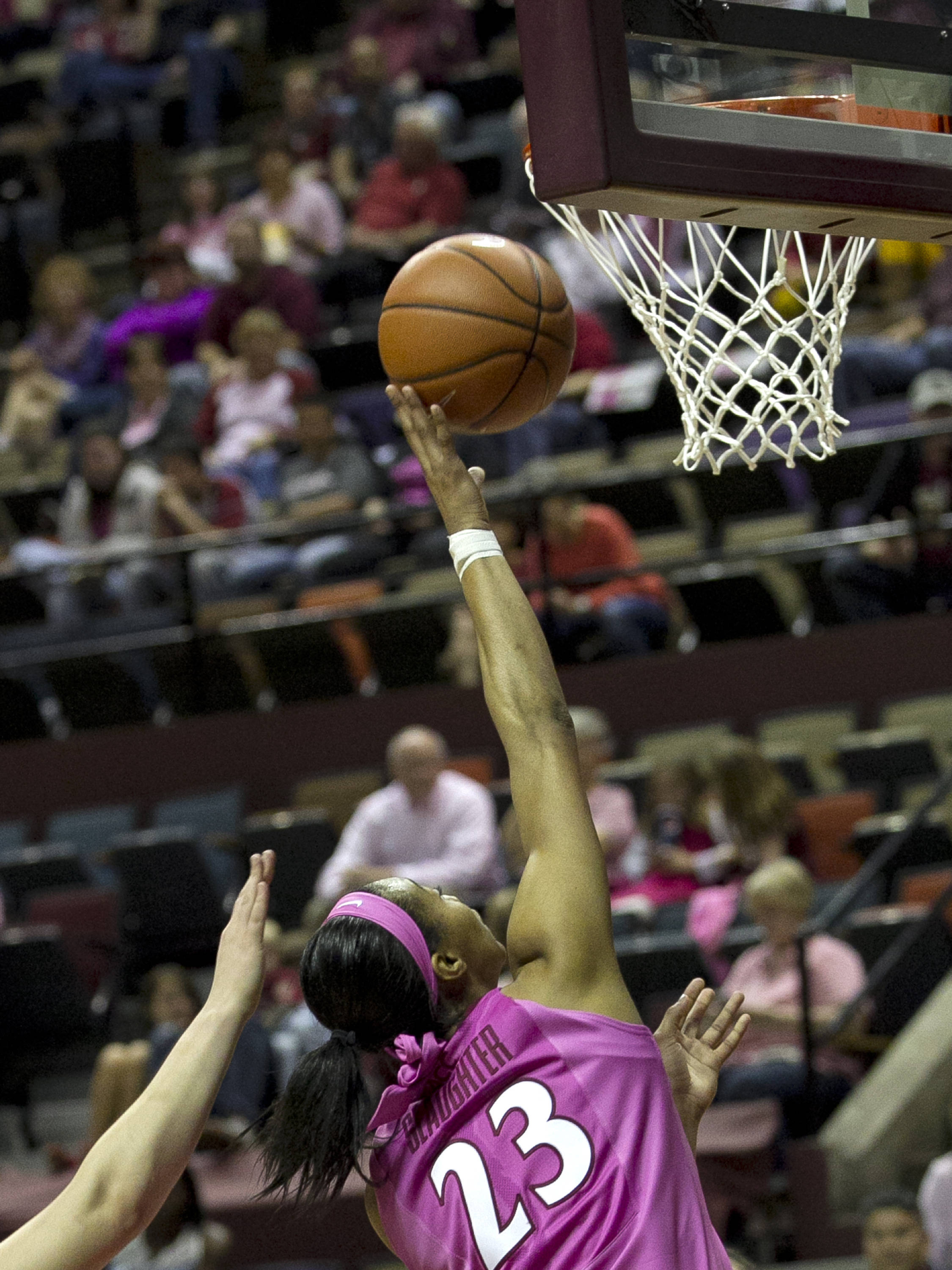 Ivey Slaughter (23) with an easy two points, FSU vs Boston College, 2-09-14, (Photo's by Steve Musco)