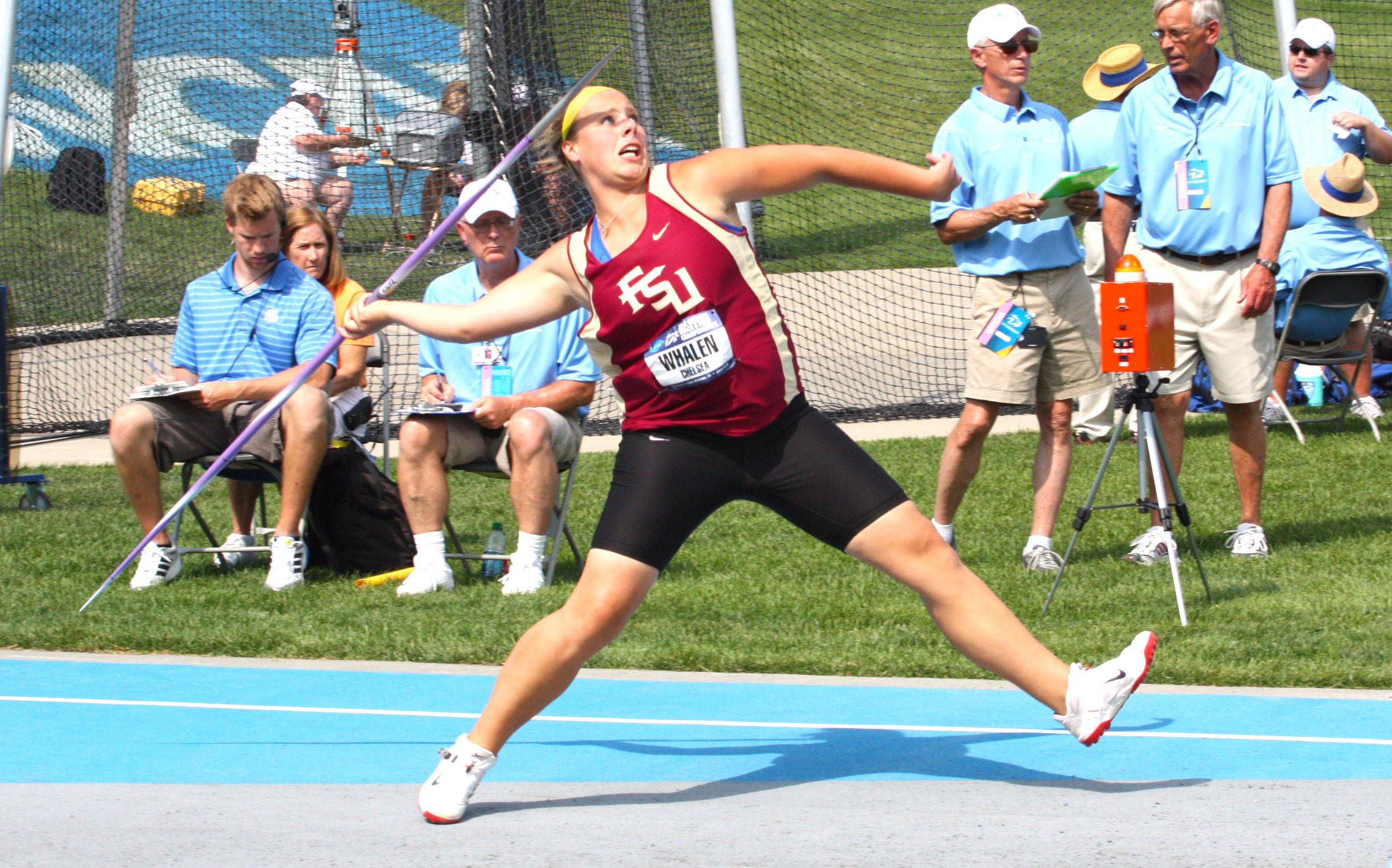 Chelsea Whalen cuts loose on her final throw in the javelin, good for a new PR of 47.44 meters at the NCAA Championship