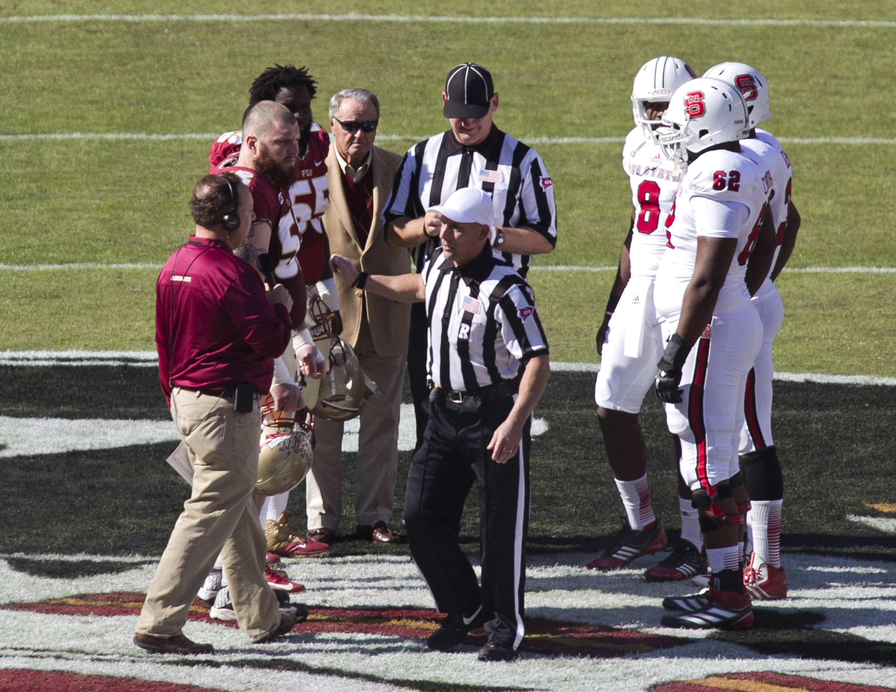 Coach Bowden and the coin toss, FSU vs NC State,  10-26-13, (Photo by Steve Musco)