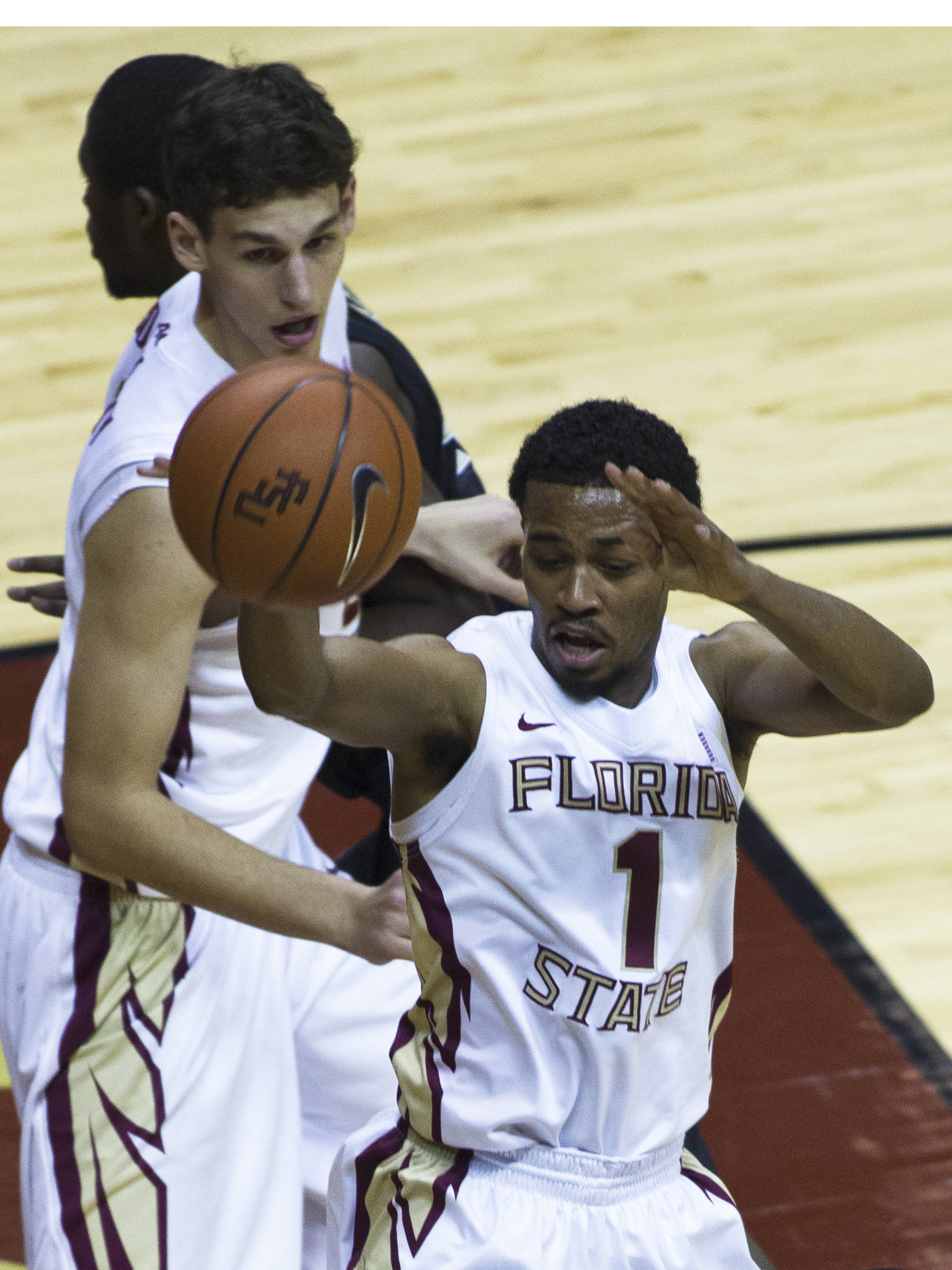 Devon Bookert (1), FSU vs Wake Forest, 02/26/13. (Photo by Steve Musco)
