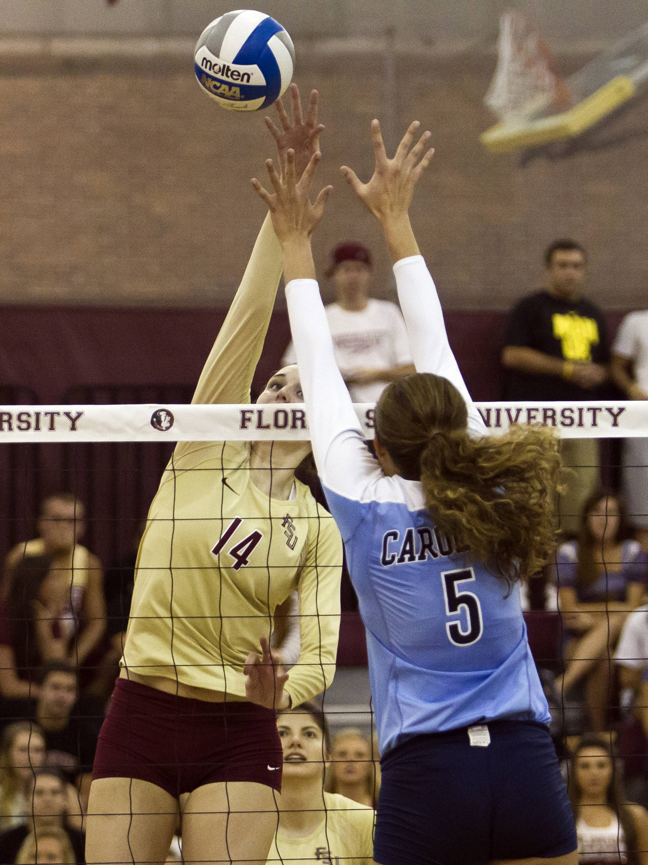 Ashley Neff (14), FSU vs NC, 10/05/12 (Photo by Steve Musco)