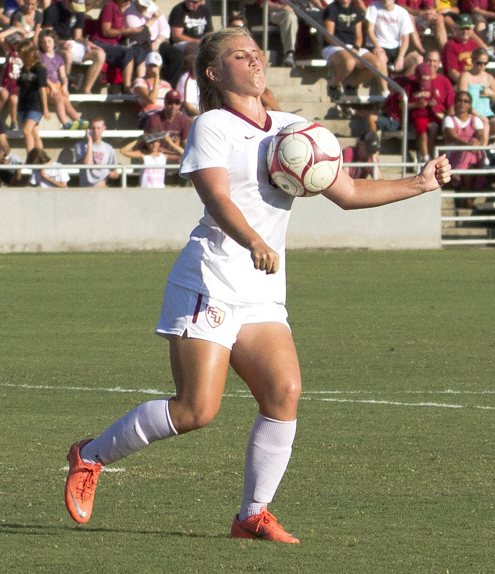 Michaela Hahn (8), FSU vs Jackson State, 9/21/12 (Photo by Steve Musco)