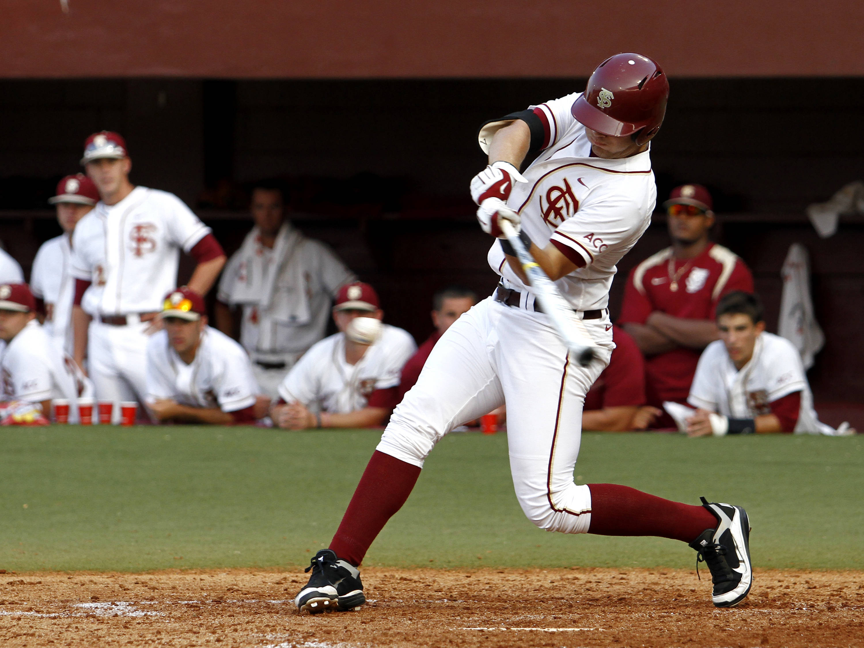 Designated hitter Parker Brunelle (7) stepping into a 2 run single in the Florida State 4 run 5th inning