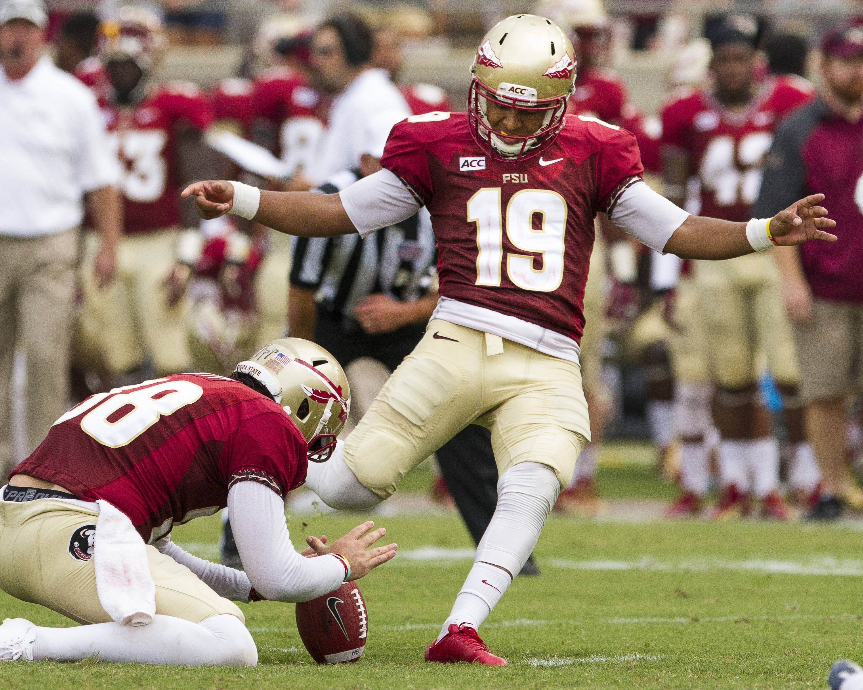 Roberto Aguayo (19) kicks an extra point during FSU's 62-7 win over Nevada on Saturday, Sept 14, 2013 in Tallahassee, Fla.