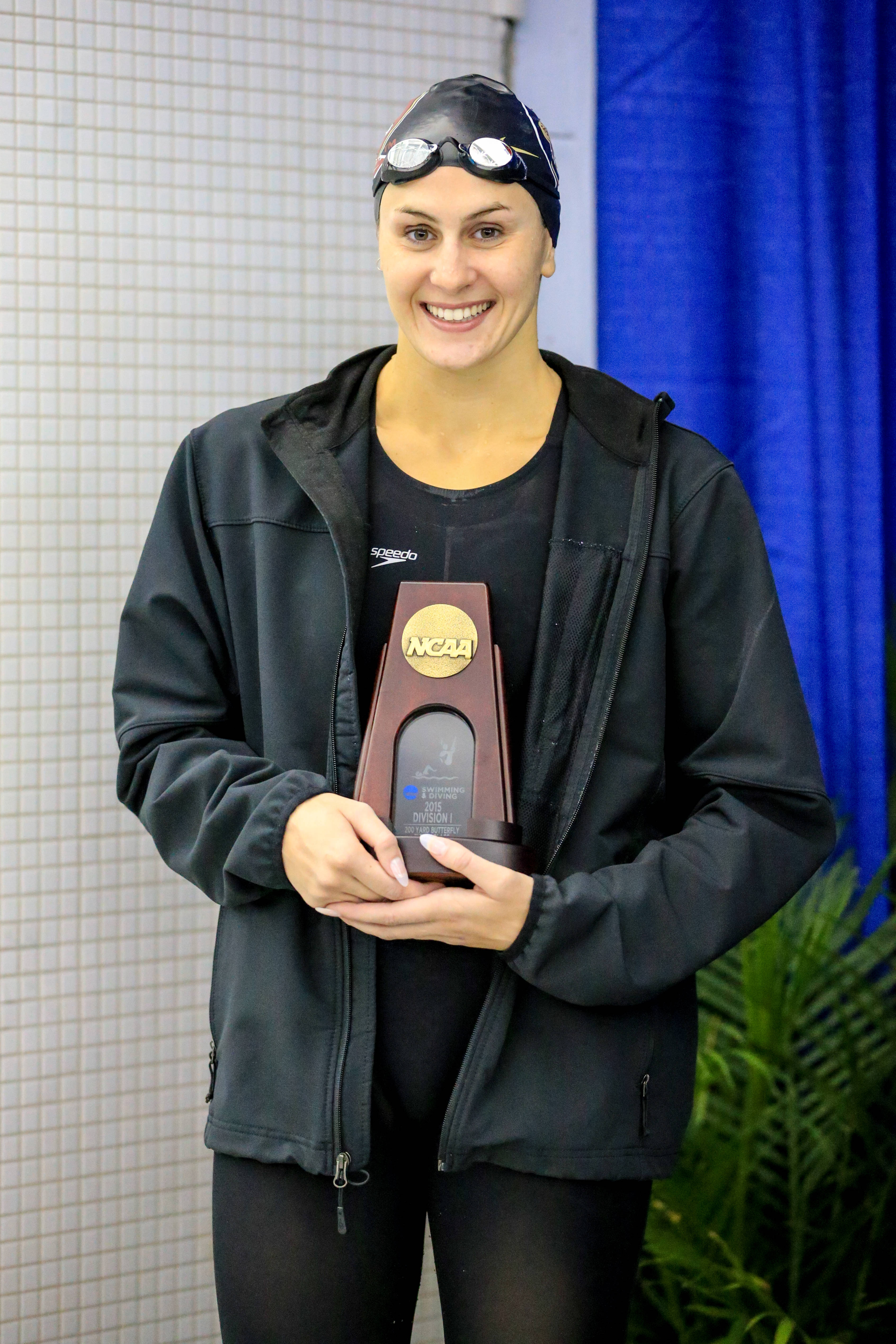 Chelsea Britt on the podium of the 200 fly