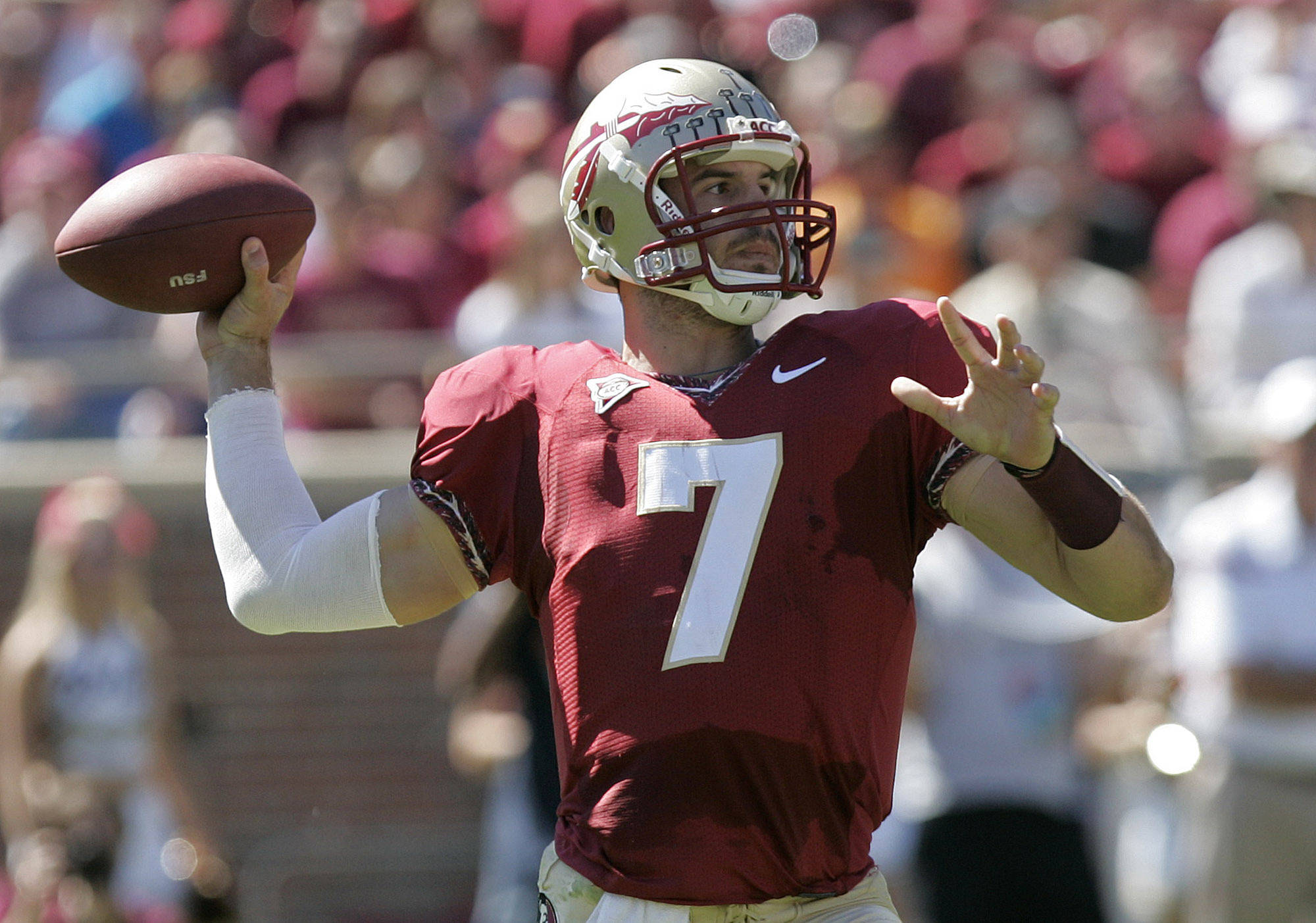 Florida State's Christian Ponder winds up for a pass. (AP Photo/Steve Cannon)
