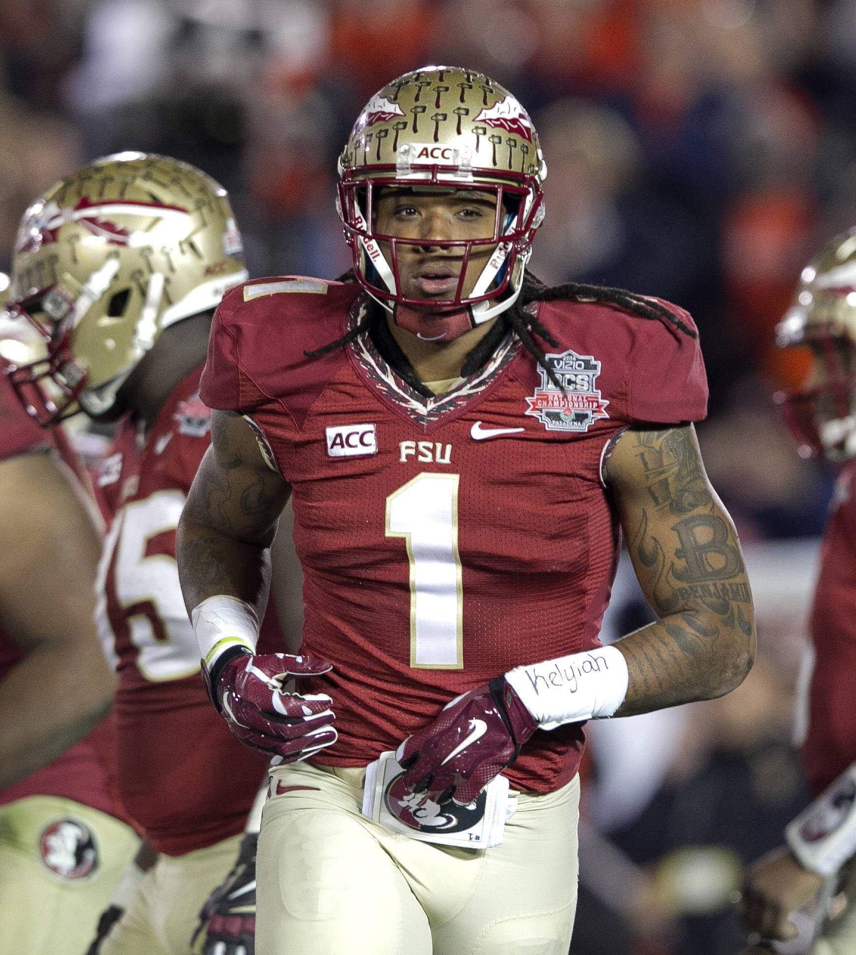Kelvin Benjamin (1) heading to the line, BCS Championship, FSU vs Auburn, Rose Bowl, Pasadena, CA,  1-06-14,  (Photo by Steve Musco)