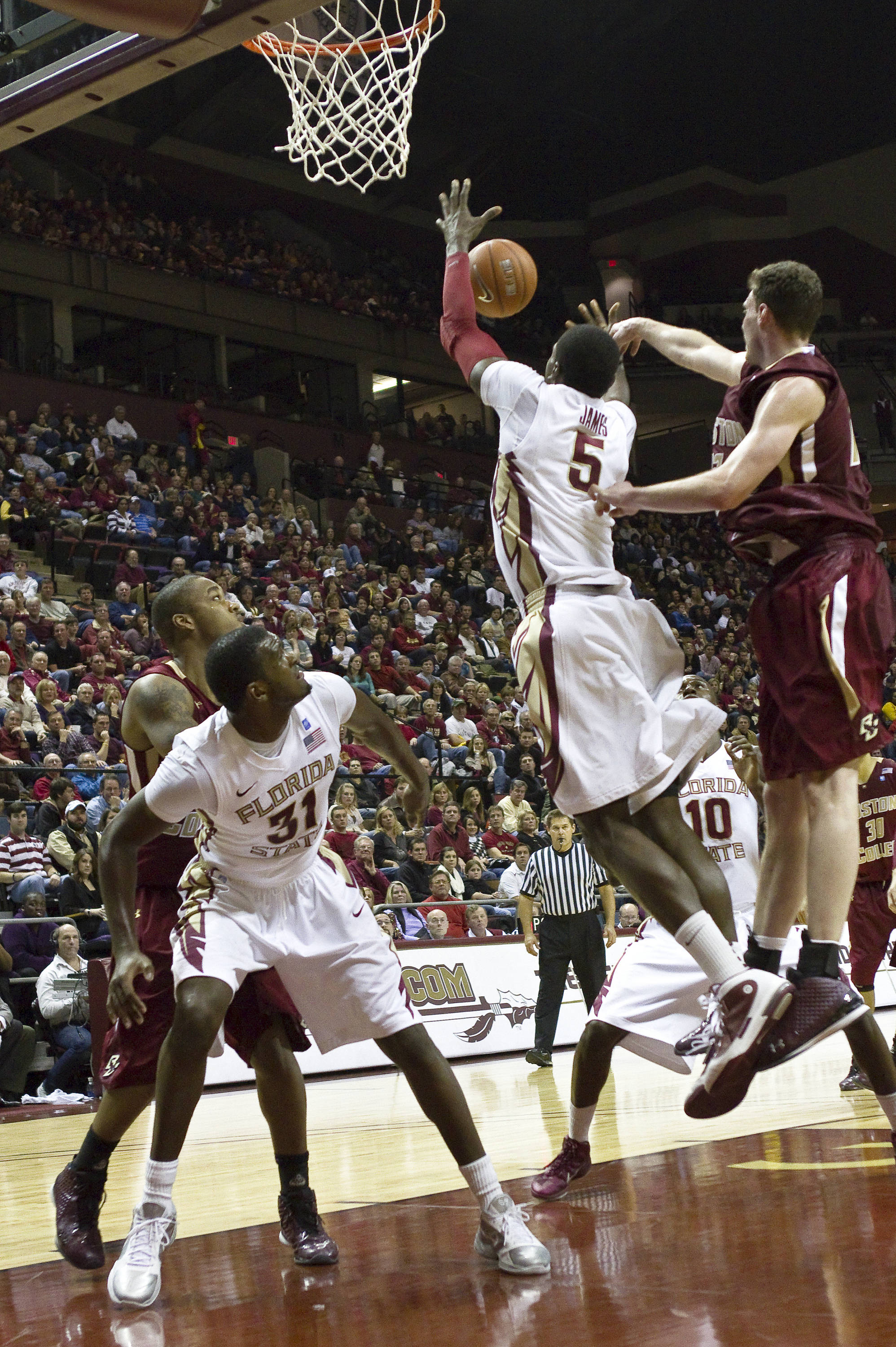 FSU vs Boston College - 01/22/11 - Bernard James (5), Chris Singleton (31)