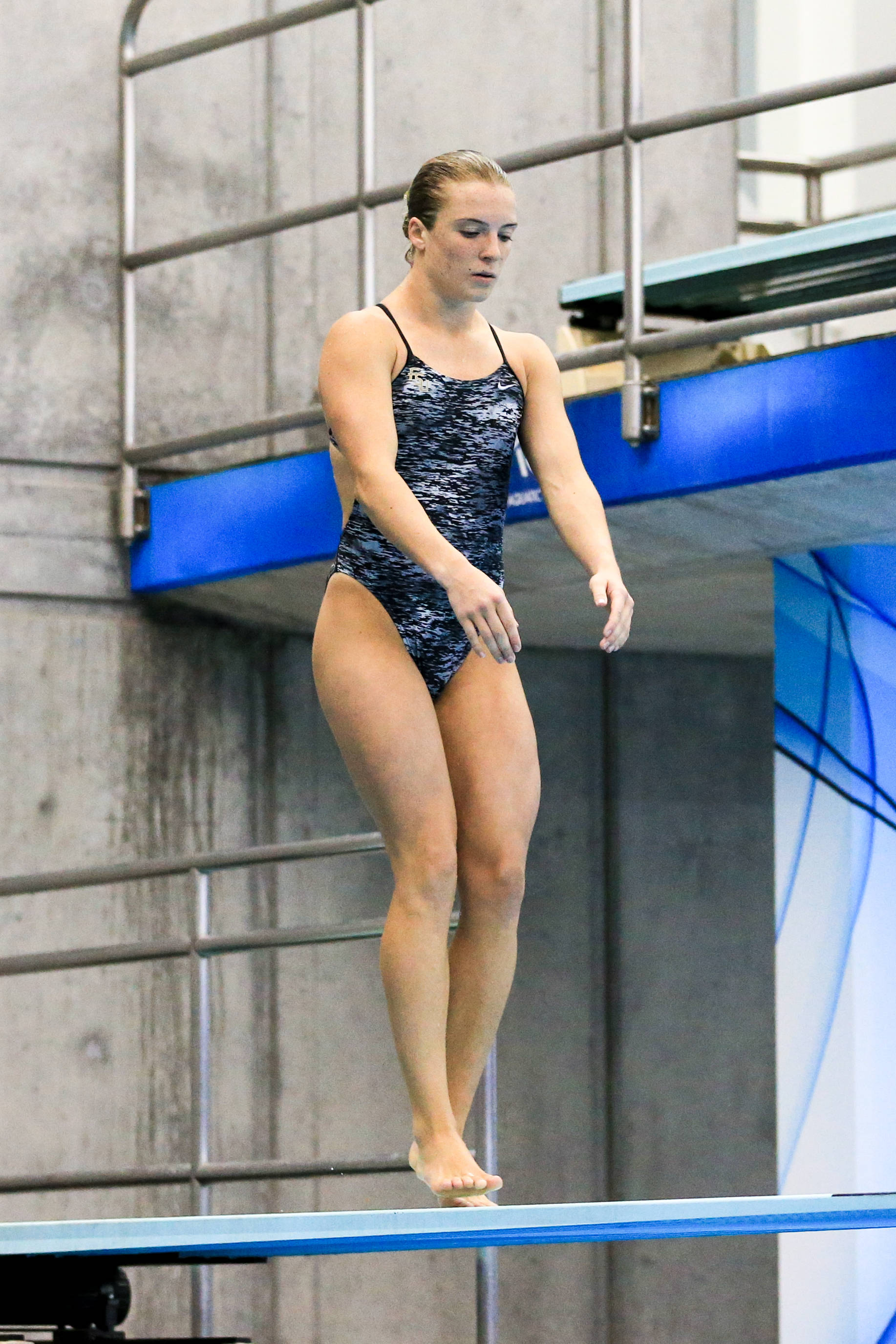 Katrina Young on approach in the 1-meter final.
