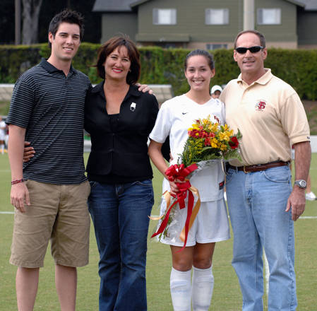 The Gianeskis Family during Senior Day ceremonies at the Seminole Soccer Complex.