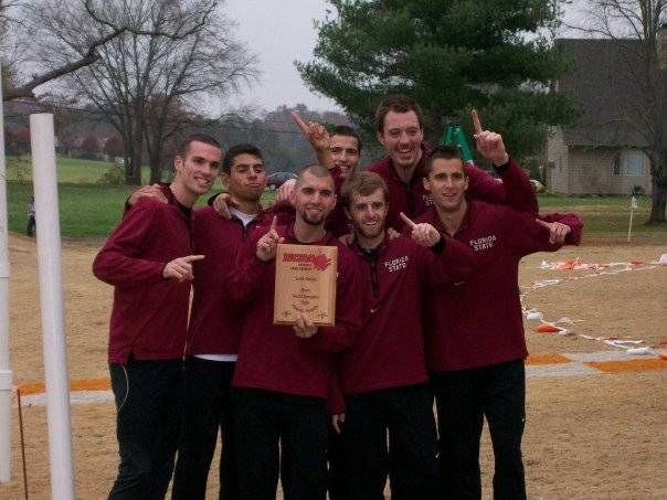 The FSU men&acirc;?<sup>TM</sup>s cross country team celebrates after taking home the title at the NCAA Division I South Regional Cross Country Championship on November 11th.