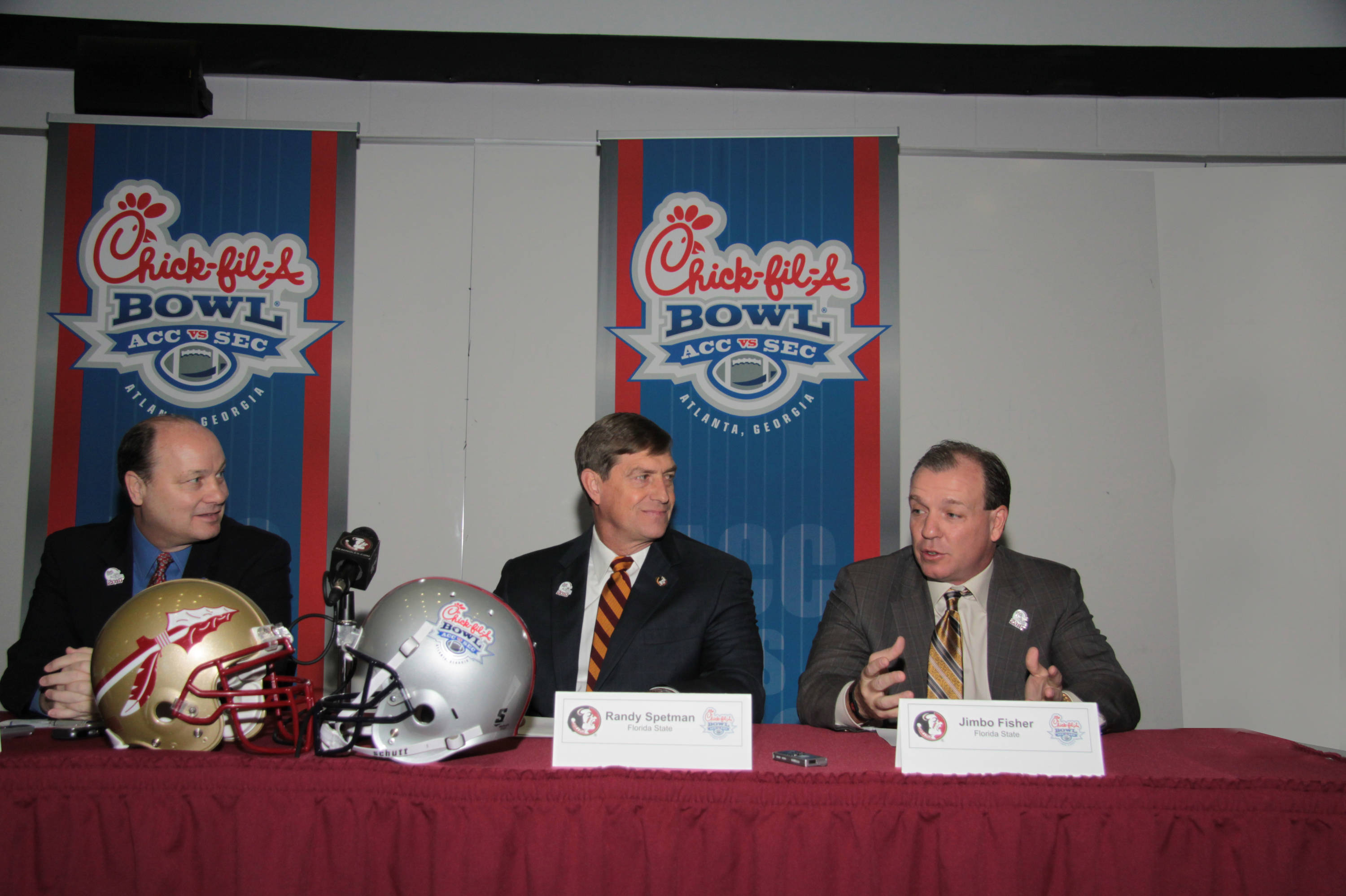 Head Coach Jimbo Fisher tells the media how pleased he is that the Seminoles will play in the Chick-Fil-A Bowl.