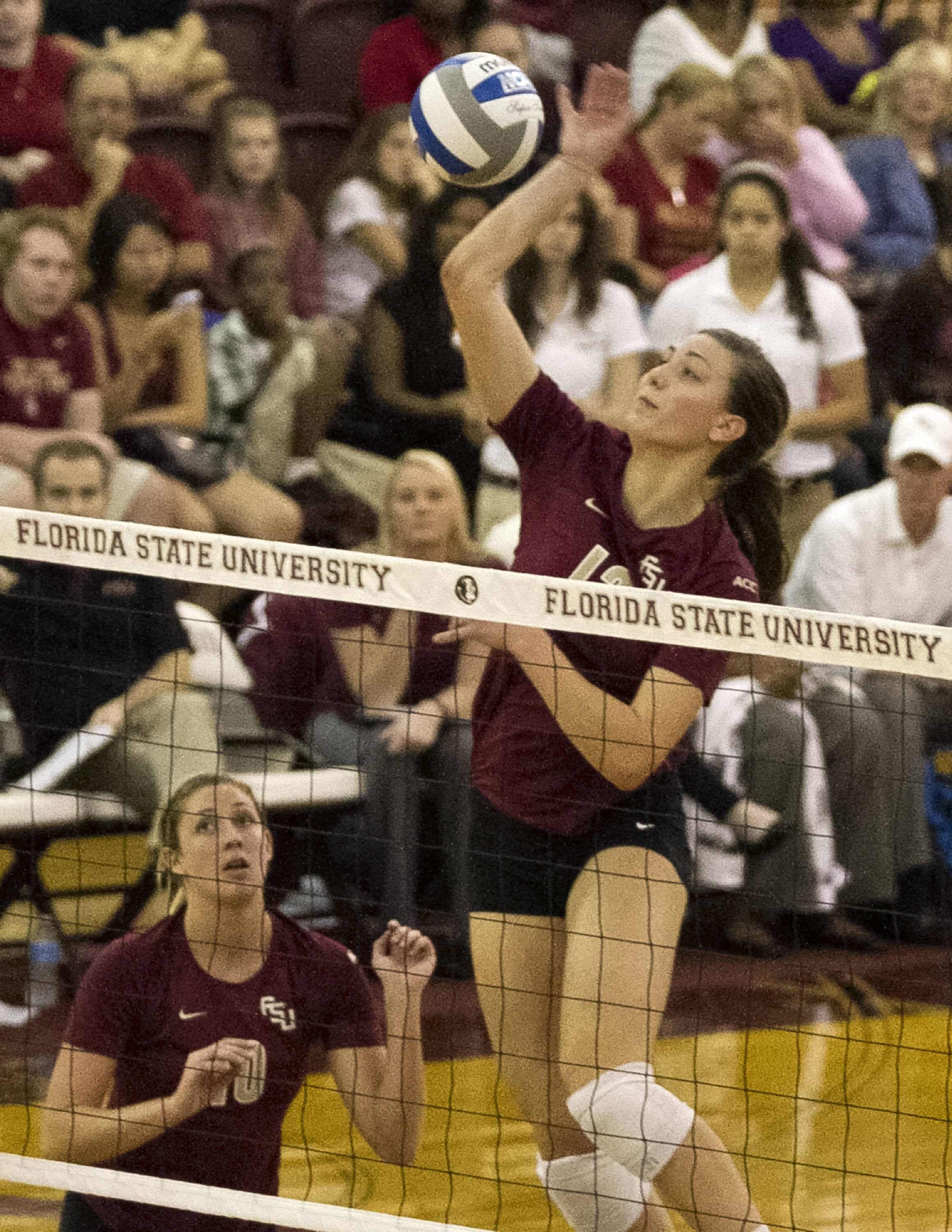 Sarah Burrington (12), FSU vs Notre Dame, 11-17-13, (Photo by Steve Musco)