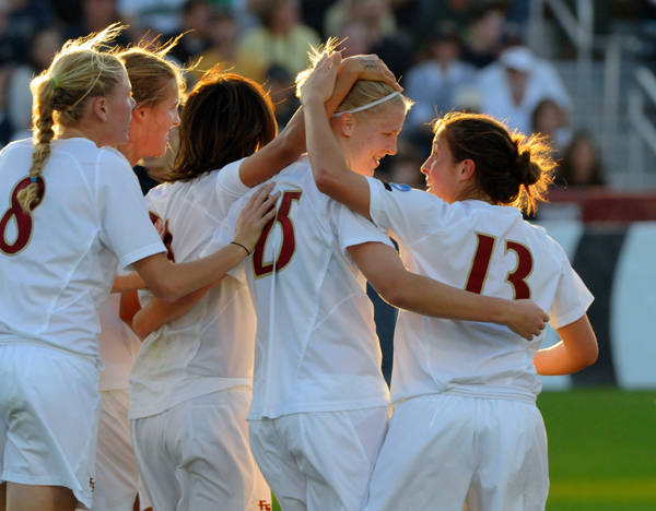 Seminoles celebrate after a goal