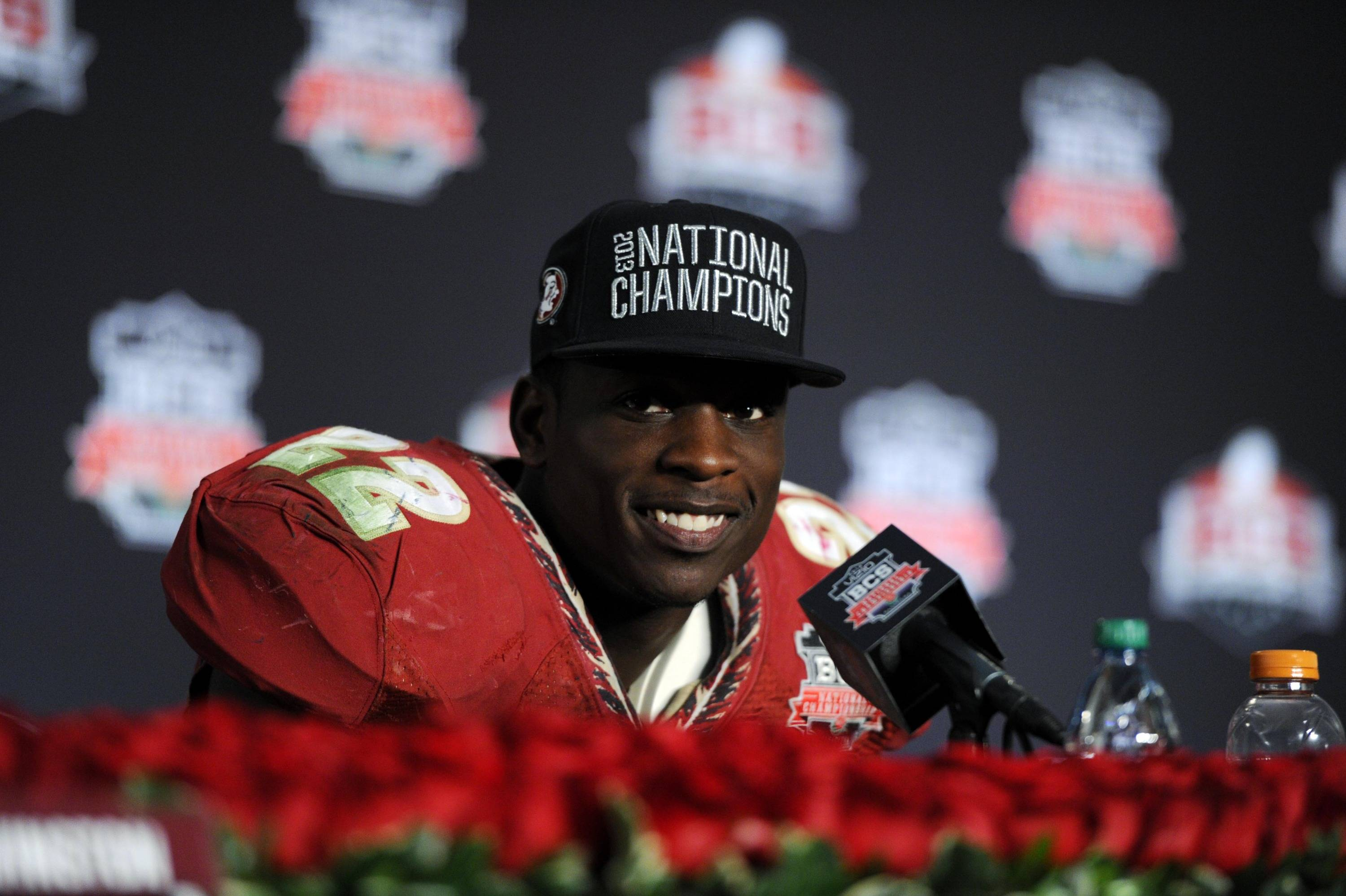 Jan 6, 2014; Pasadena, CA, USA; Florida State Seminoles linebacker Telvin Smith (22) at a press conference after the 2014 BCS National Championship game against the Auburn Tigers at the Rose Bowl.  Mandatory Credit: Kirby Lee-USA TODAY Sports