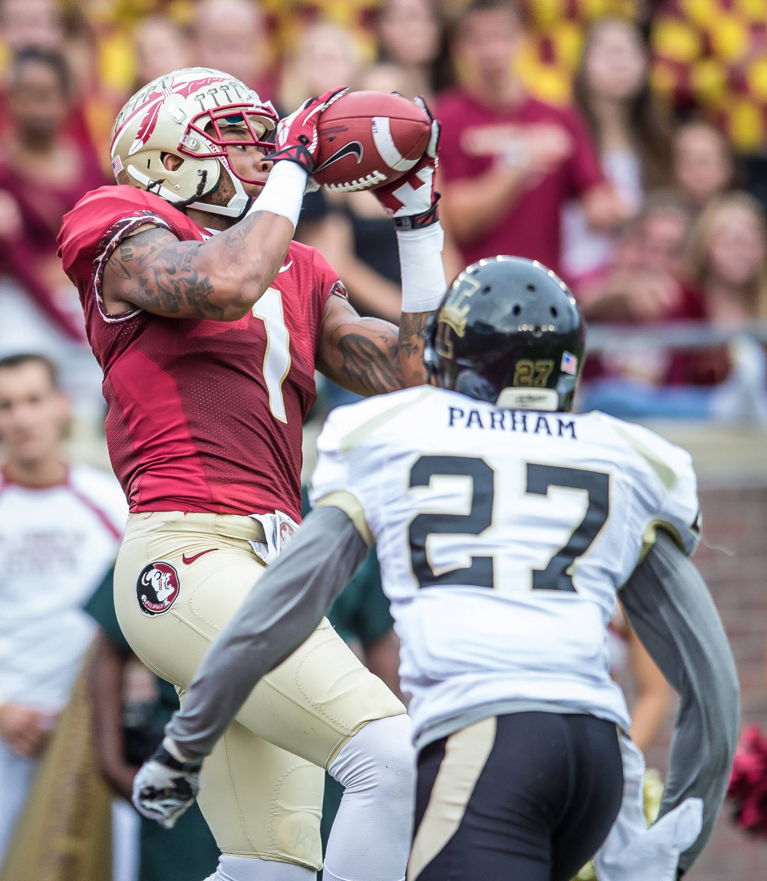 Kelvin Benjamin (1) hauls in a 32 yard TD pass from Jameis Winston.