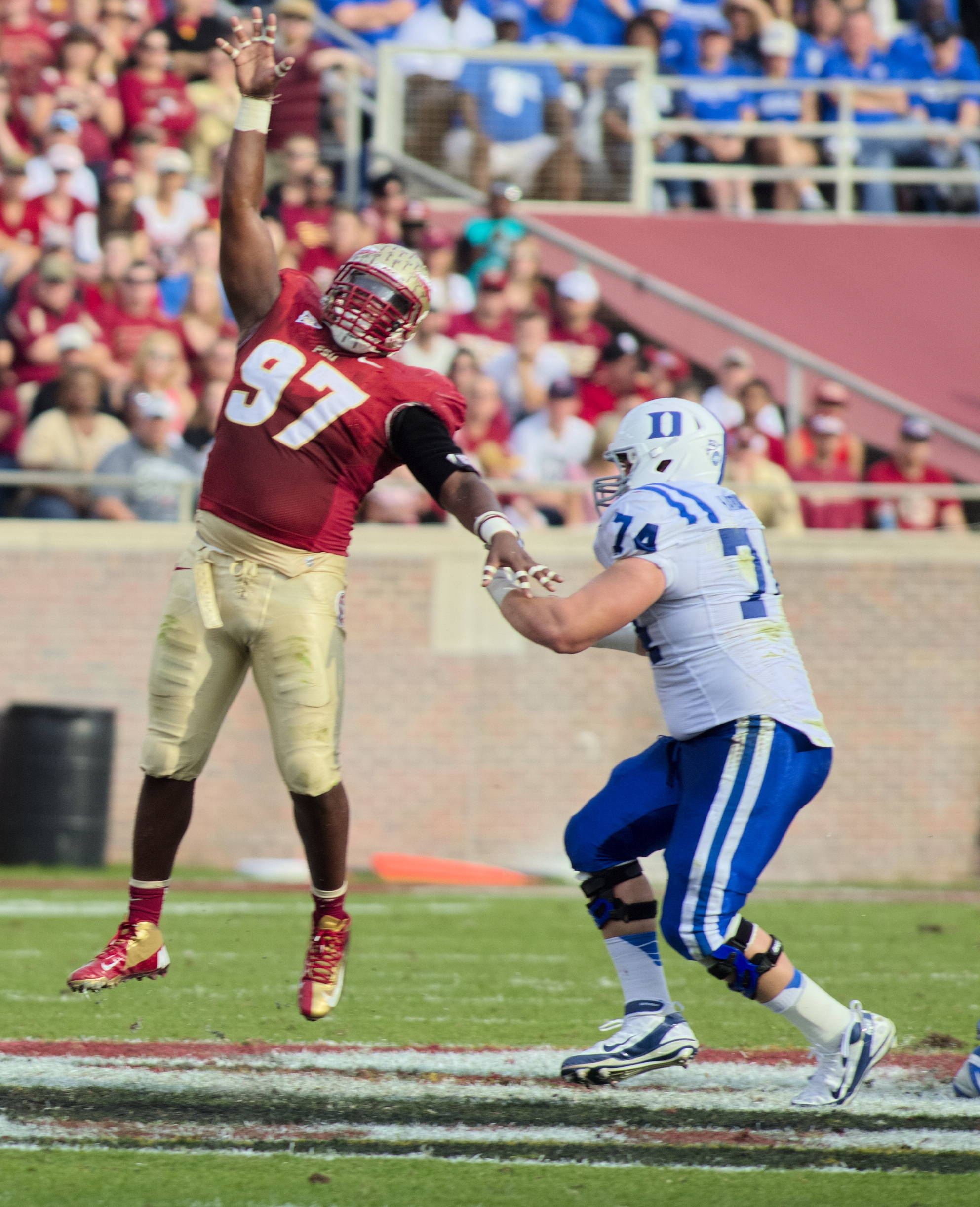 Demonte McAllister (97), FSU vs Duke, 10/27/12. (Photo by Steve Musco)