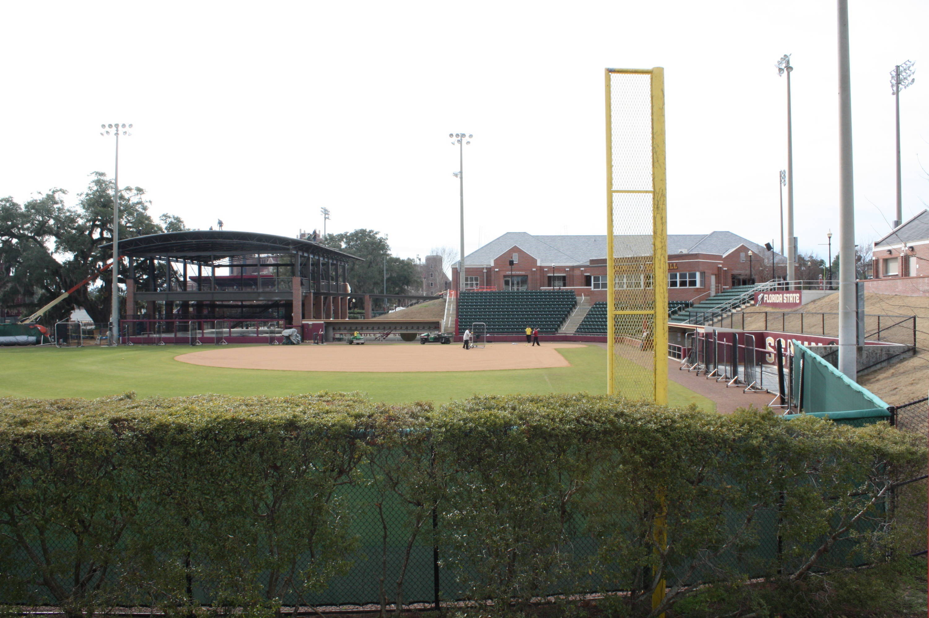 A behind the trees view of beautiful JoAnne Graf Field