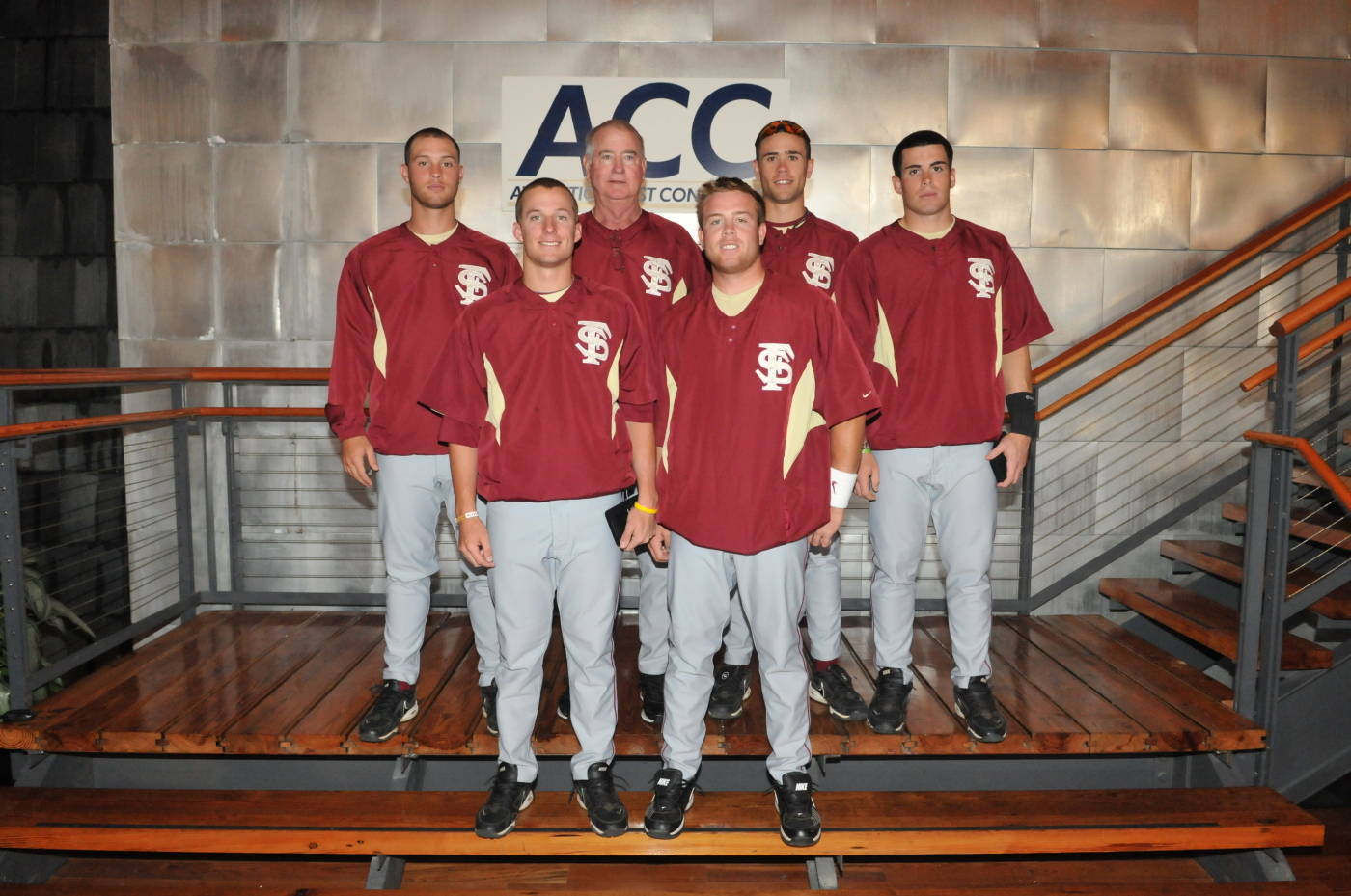 Florida State's All-ACC honorees (front row L to R: Tyler Holt and Jason Stidham; back row L to R: Mike McGee, head coach Mike Martin, Sean Gilmartin and Stephen Cardullo)