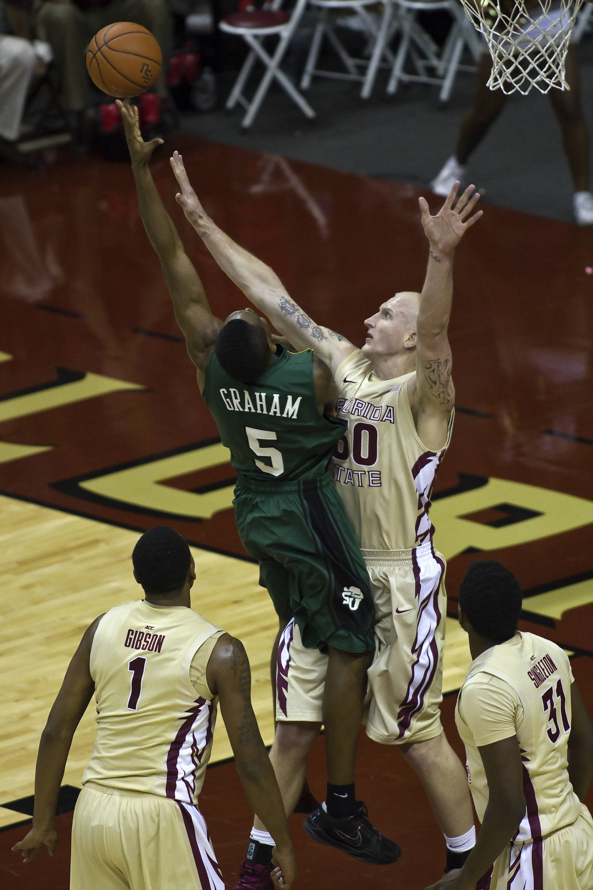 FSU vs Stetson - 12/15/2010 - Jon Kreft (50), Xavier Gibson (1), Chris Singleton (31)