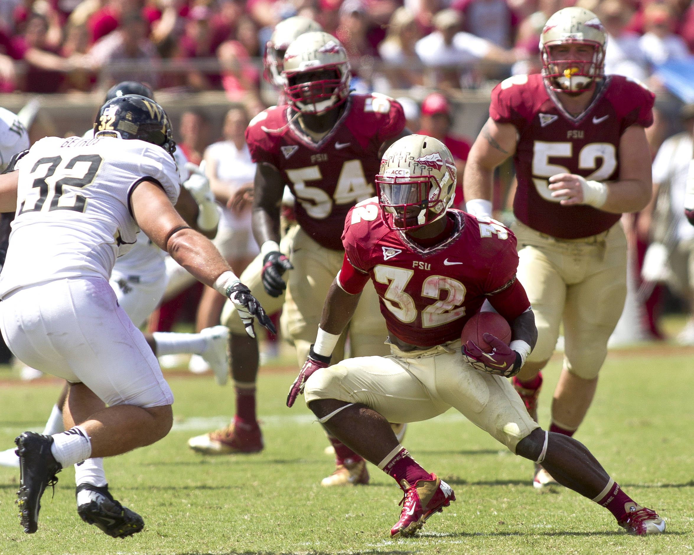 James Wilder Jr. (32) changing directions on his run, FSU vs Wake Forest, 9/15/12 (Photo by Steve Musco)