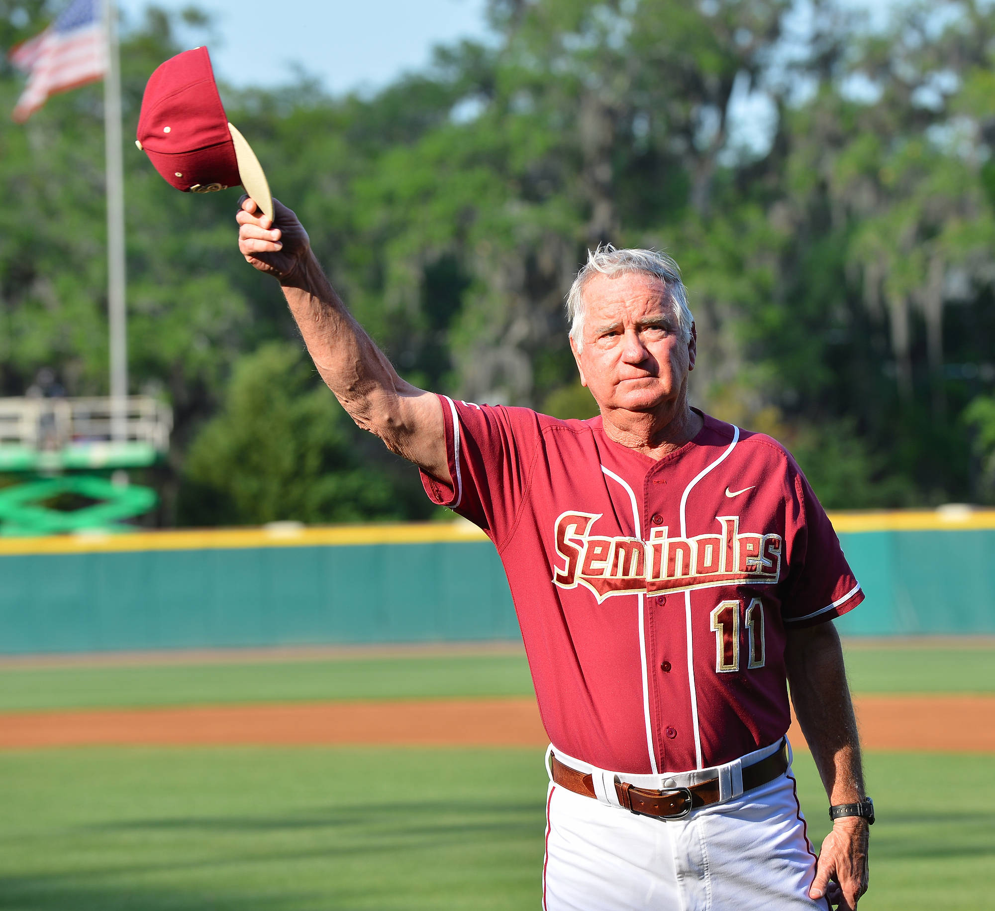 Head coach Mike Martin was recognized before the start of Tuesday's game for earning career win No. 1700 Sunday at Georgia Tech.