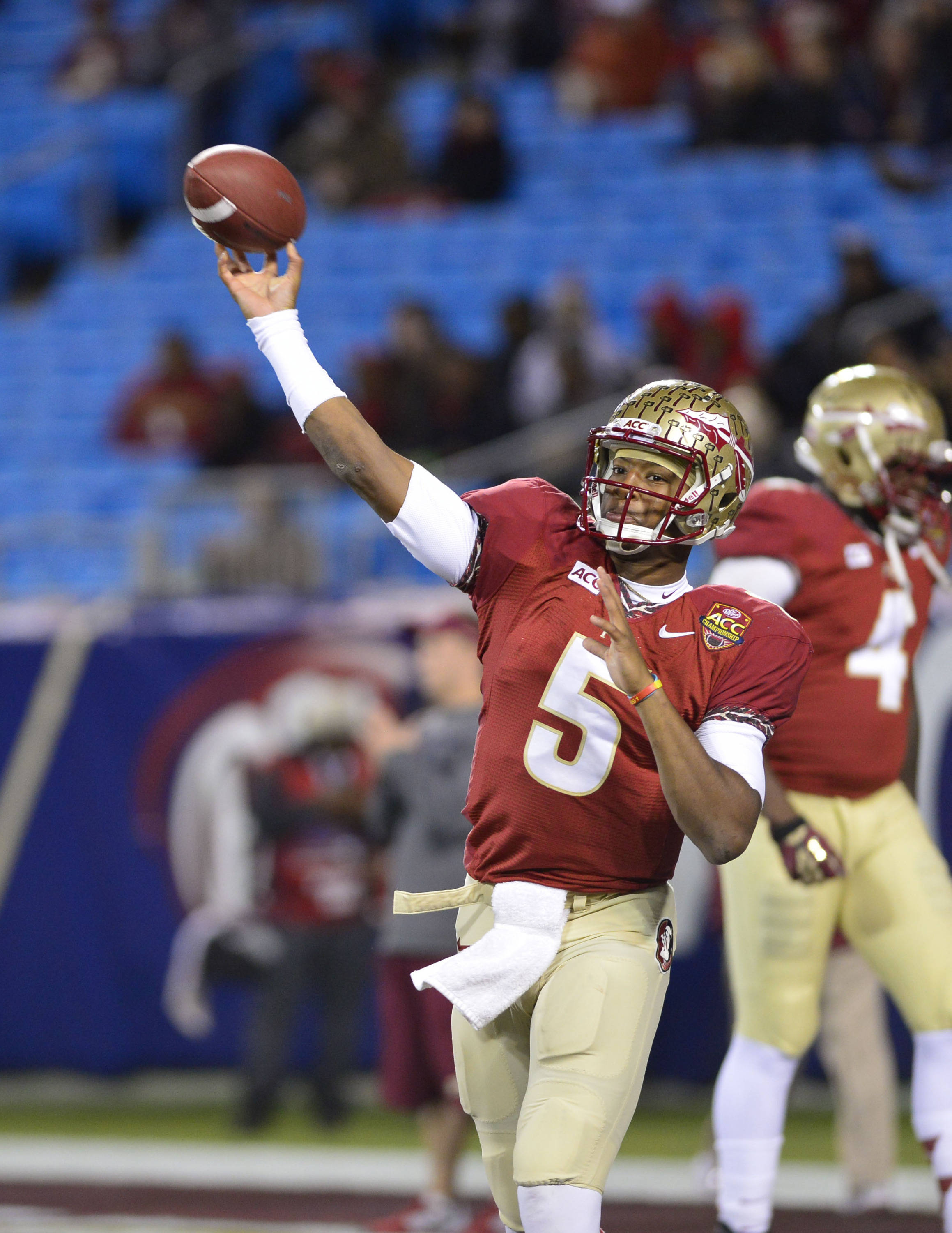 Dec 7, 2013; Charlotte, NC, USA; Florida State Seminoles quarterback Jameis Winston (5) warms up before the game at Bank of America Stadium. Mandatory Credit: Bob Donnan-USA TODAY Sports