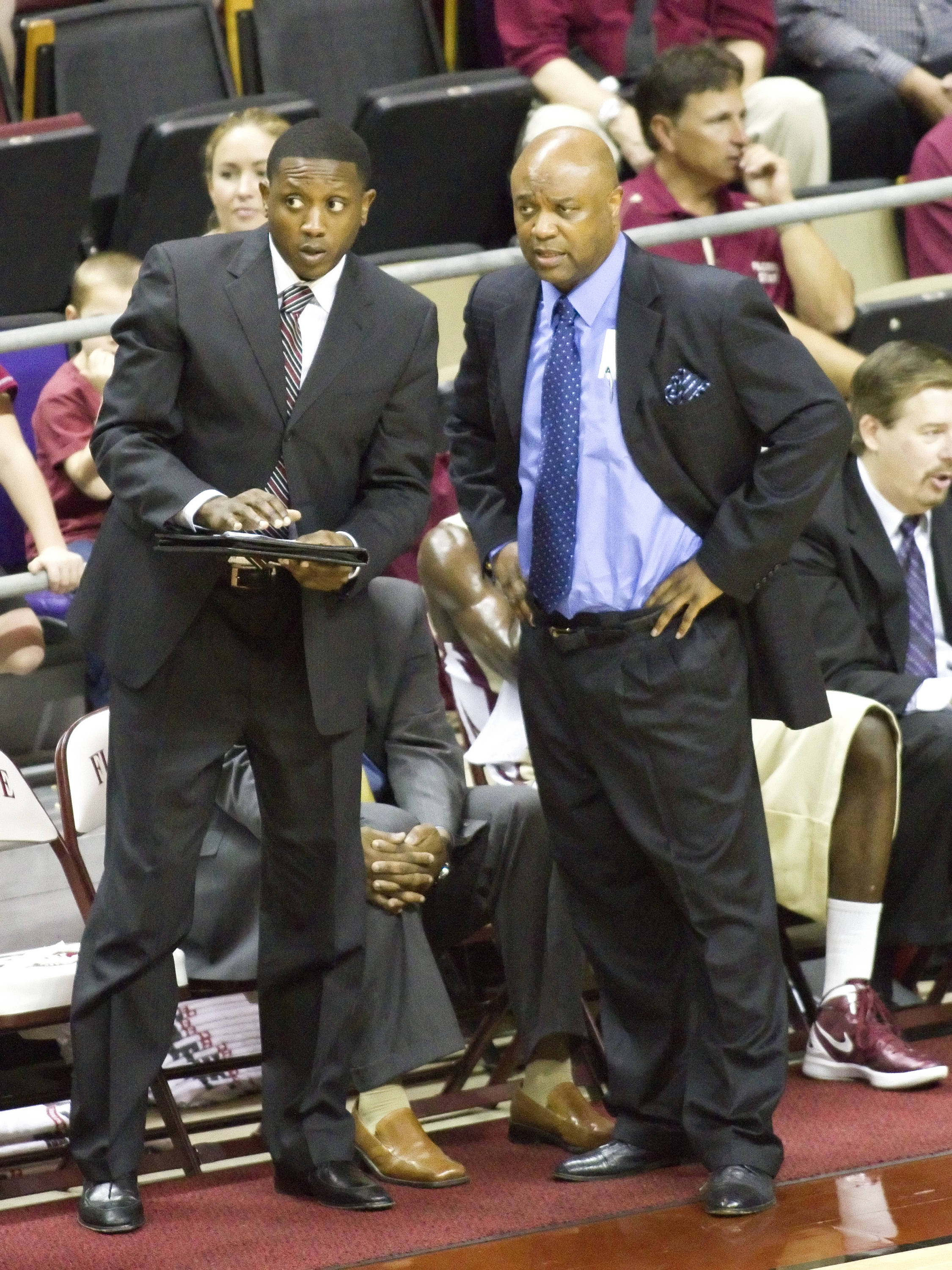 Head Coach Leonard Hamilton, Assistant Coach Dennis Gates,  FSU vs So. Alabama, 11/20/2011