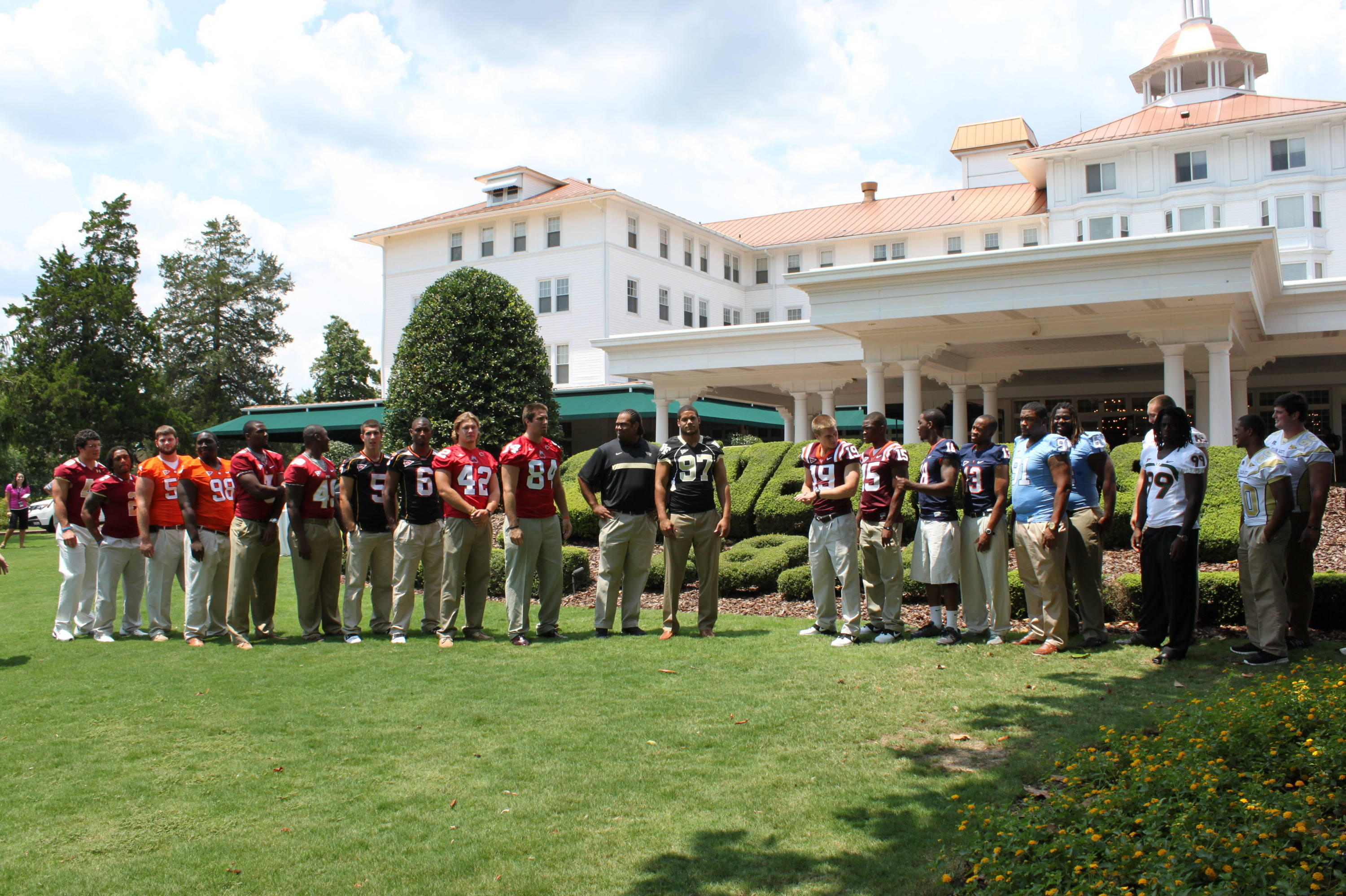 A stately pose by the ACC players participating in the 2011 Kickoff on the lawn at Pinehurst.