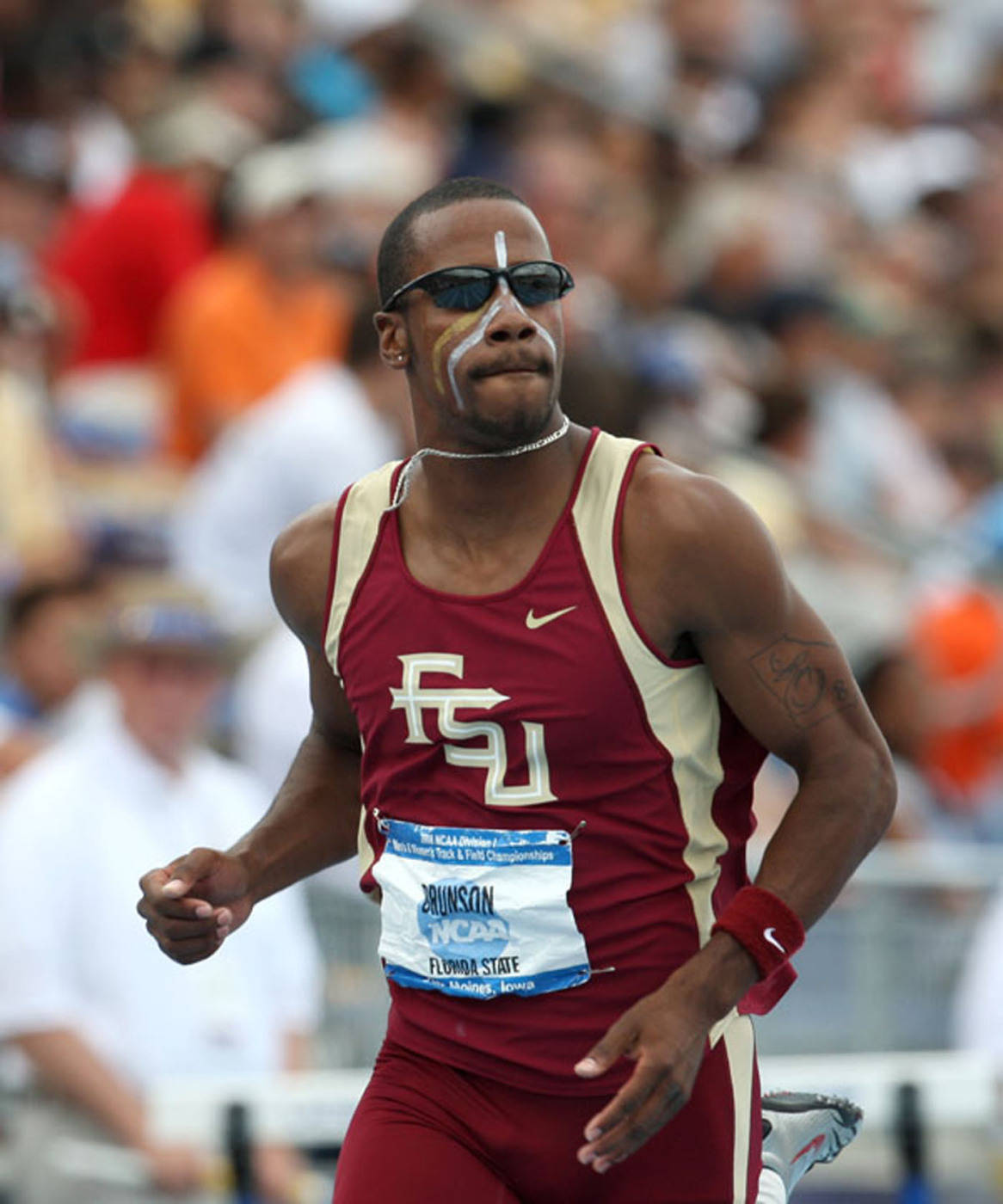 Drew Brunson after running a career-best 13.40 in the 110m hurdles.