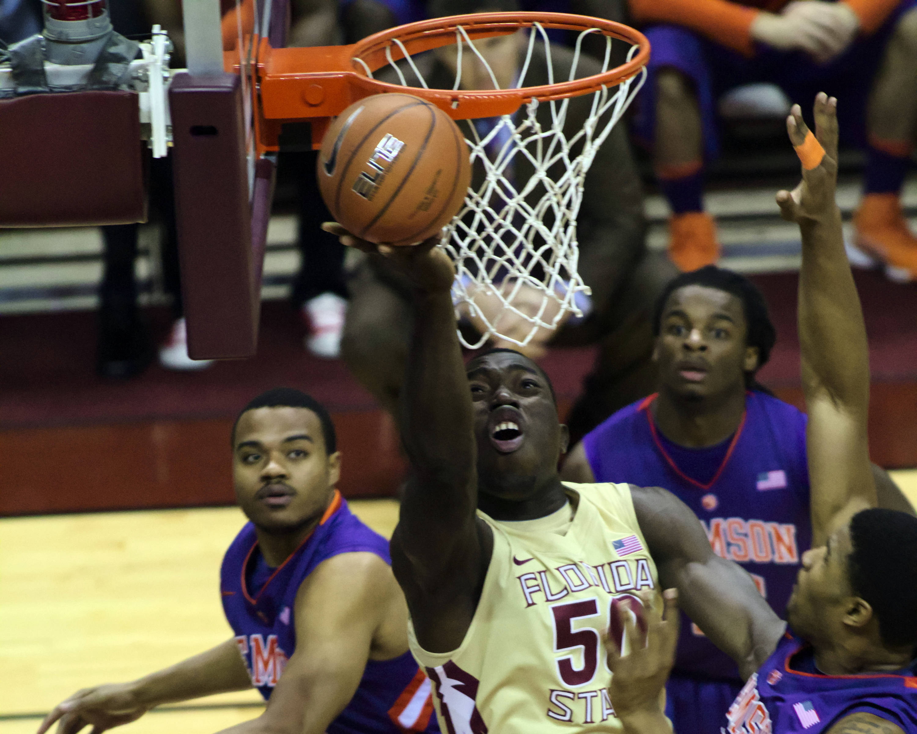 Michael Ojo (50), FSU vs Clemson, 01/24/13. (Photo by Steve Musco)