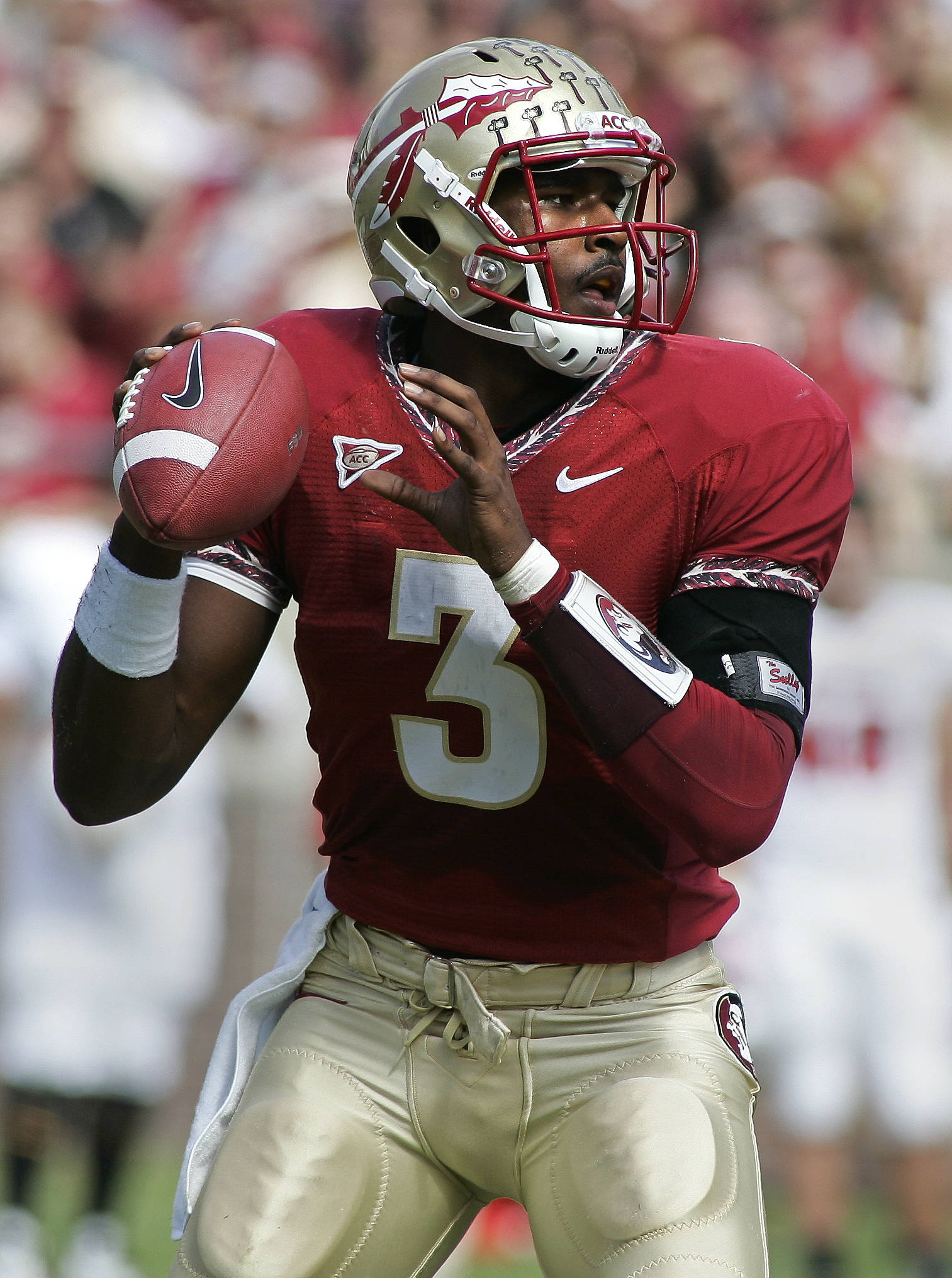 Florida State quarterback E.J. Manuel (3) throws in the first quarter of an NCAA college football game against North Carolina State at Doak Campbell Stadium in Tallahassee, Fla., Saturday, Oct. 29, 2011. FSU won 34-0. (AP Photo/Phil Sears)