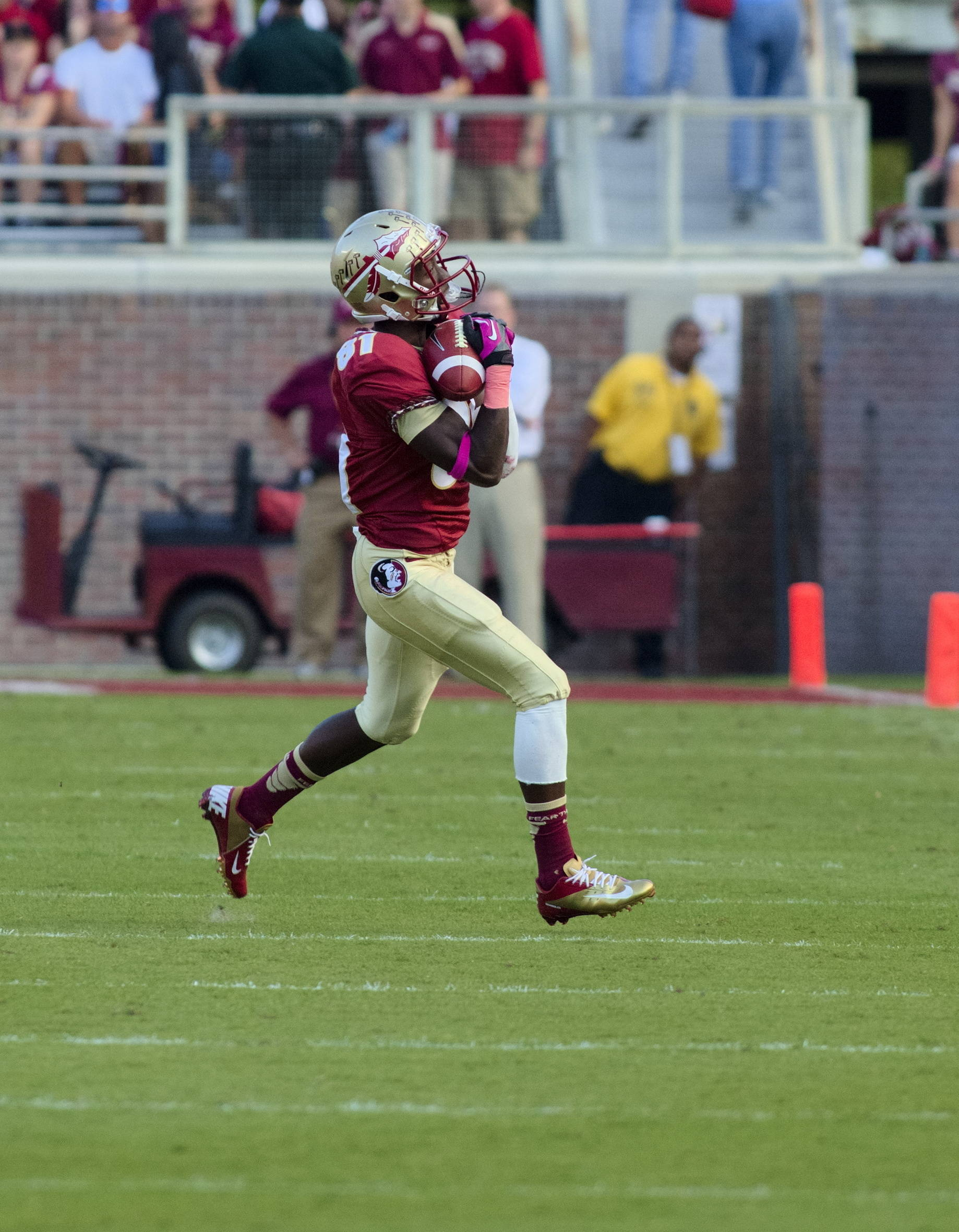 Kenny Shaw (81) with his touchdown catch, FSU vs BC, 10/13/12 (Photo by Steve Musco)