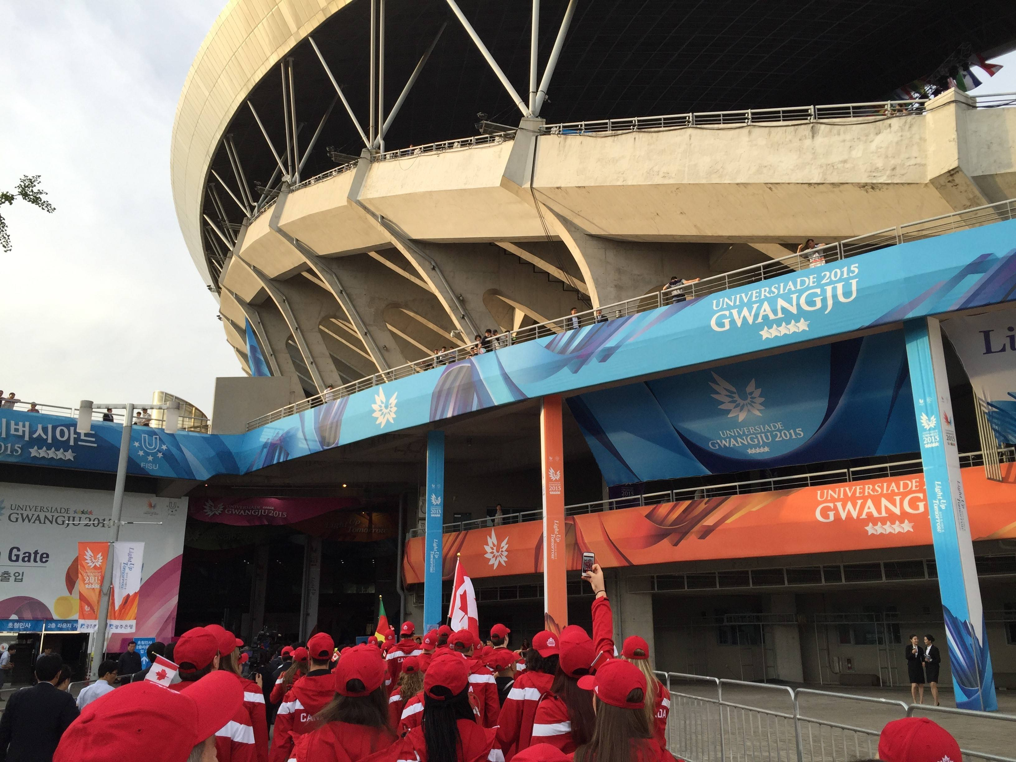 Team Canada enters the opening ceremony.