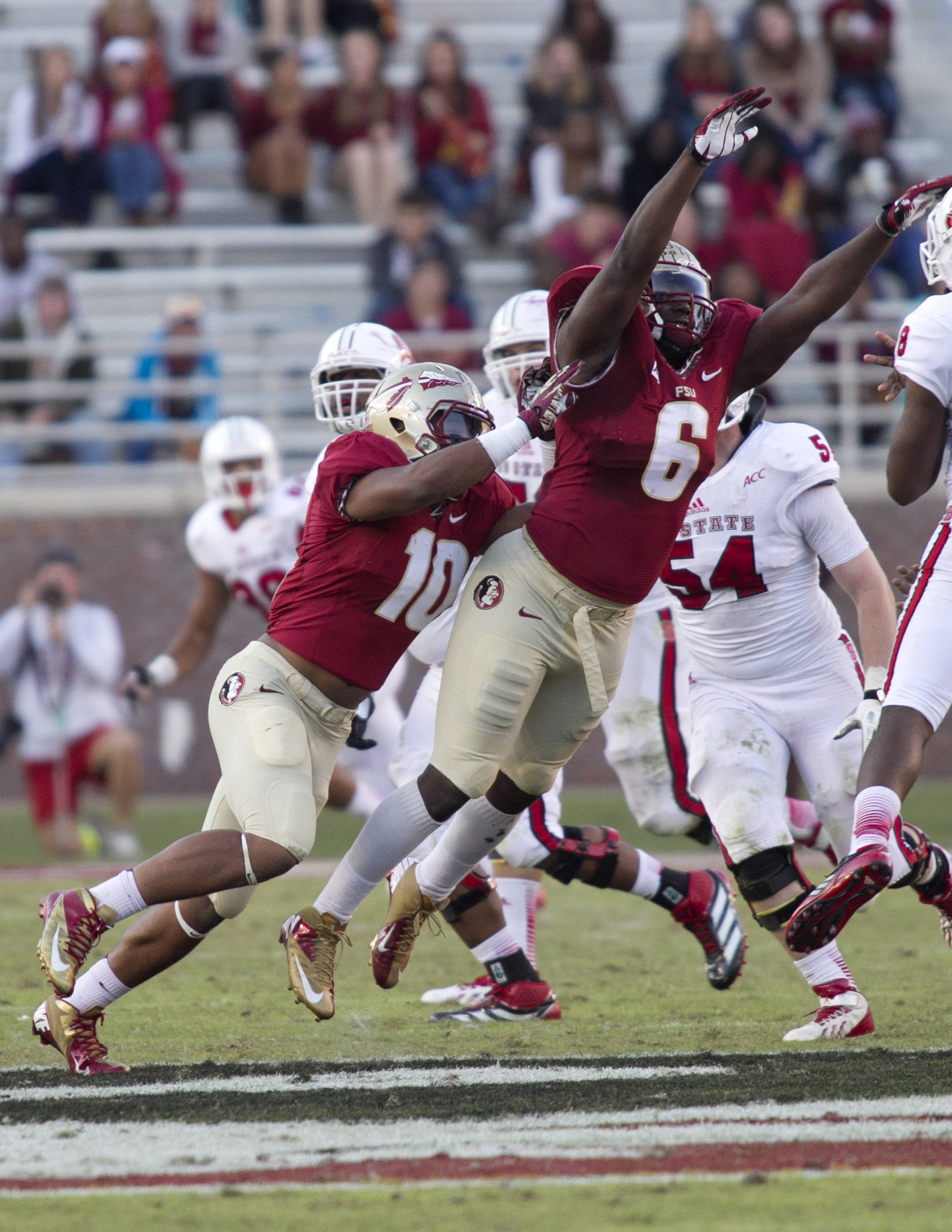 Dan Hicks (6), E.J. Levenberry (10), FSU vs NC State,  10-26-13, (Photo by Steve Musco)