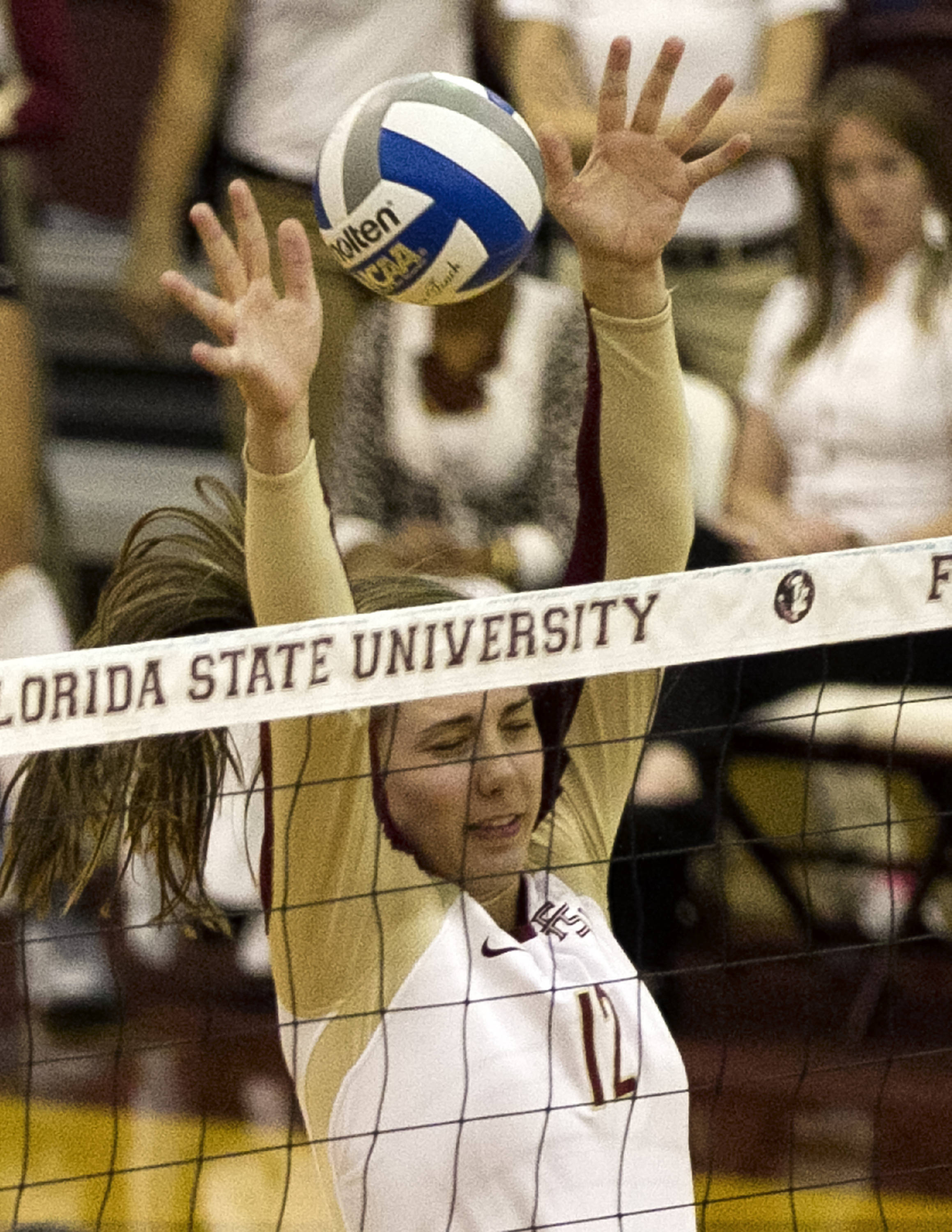 Sarah Burrington (12), FSU vs Clemson, 11-27-13,  (Photo by Steve Musco)