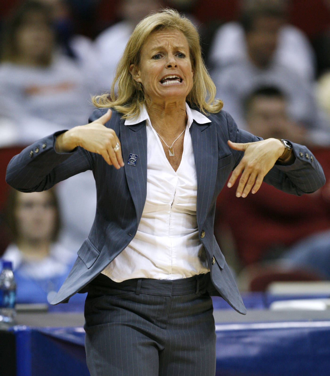 Florida State coach Sue Semrau directs her team during the first half. (AP Photo/Charlie Neibergall)