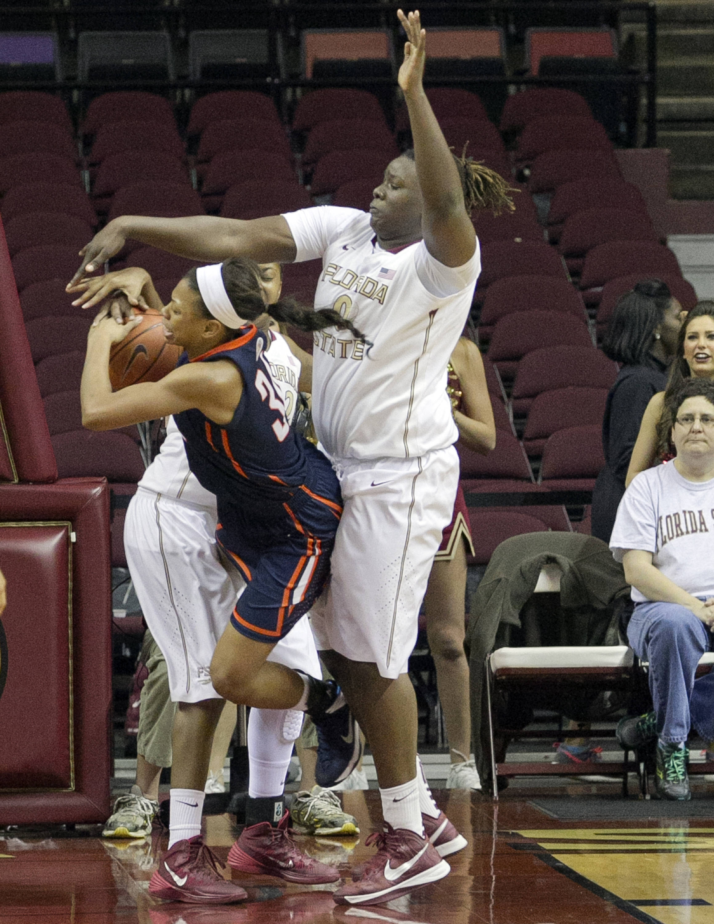 Kai James (0) with a block, FSU vs UT Martin, 12-28-13,  (Photo by Steve Musco)