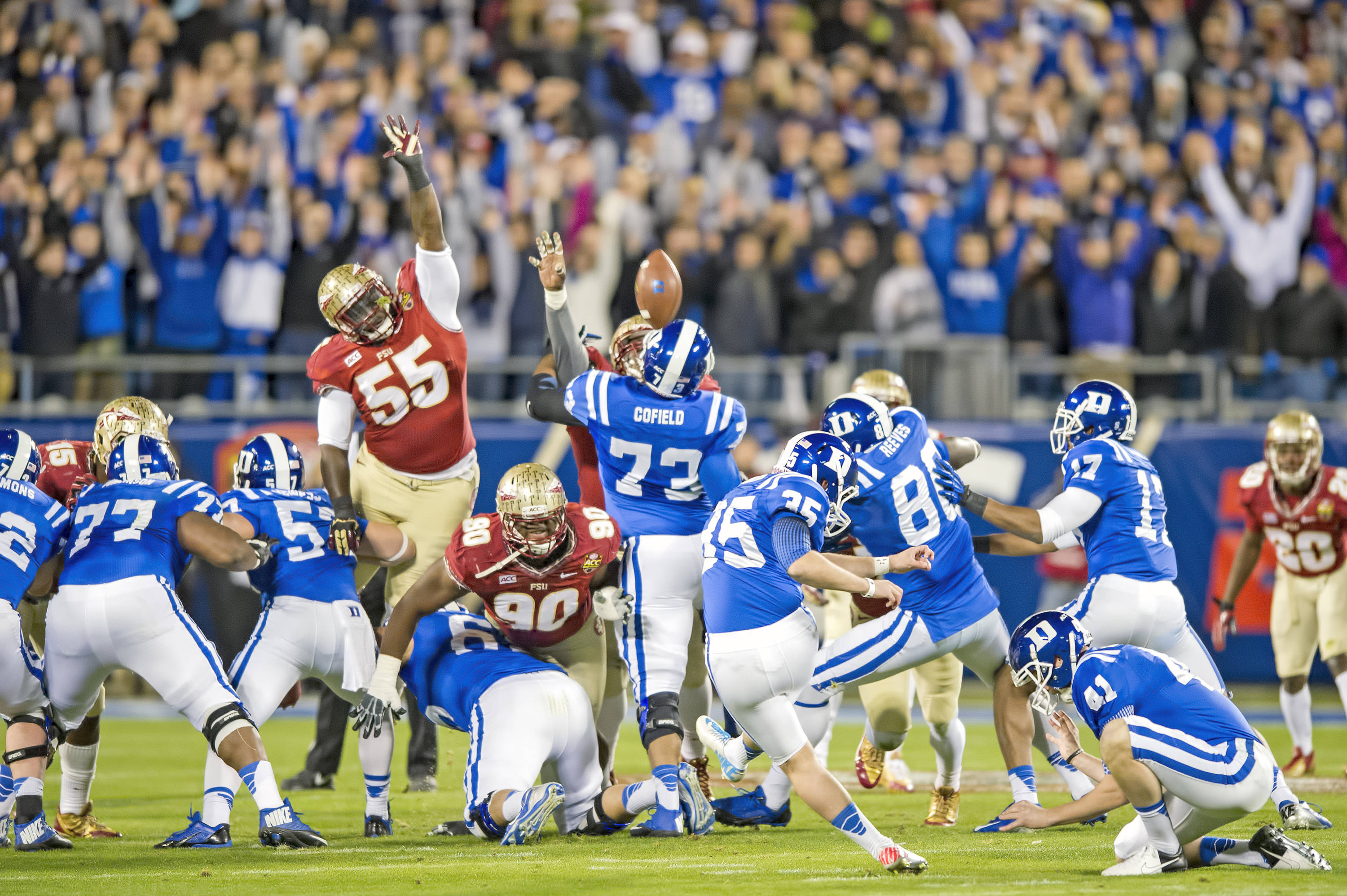 Jacobi McDaniel leaps in an effort to block a Duke FG attempt. Duke missed the FG wide right.