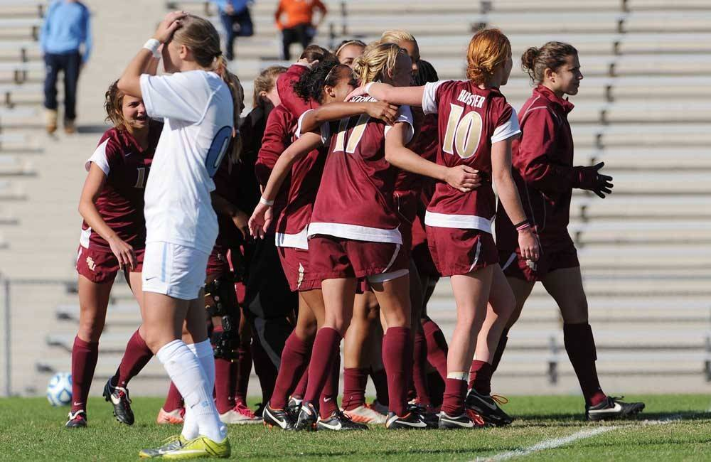 Florida State celebrates its 1-0 double overtime victory over North Carolina in the ACC Tournament quarterfinal.