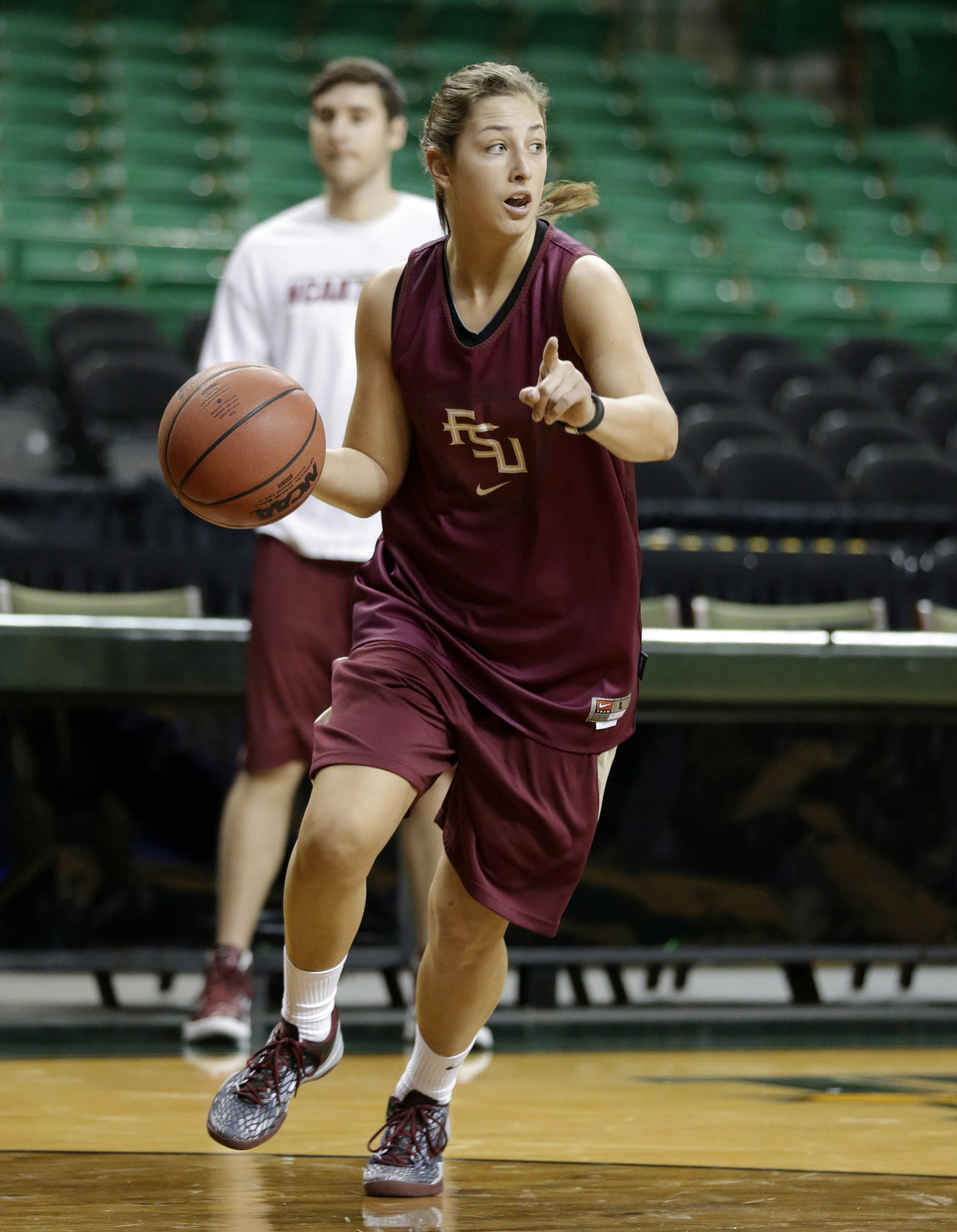 Florida State guard Leonor Rodriguez runs drills during practice for a first-round game in the women's NCAA college basketball tournament Saturday, March 23, 2013, in Waco, Texas. FSU will play Princeton on Sunday. (AP Photo/Tony Gutierrez)