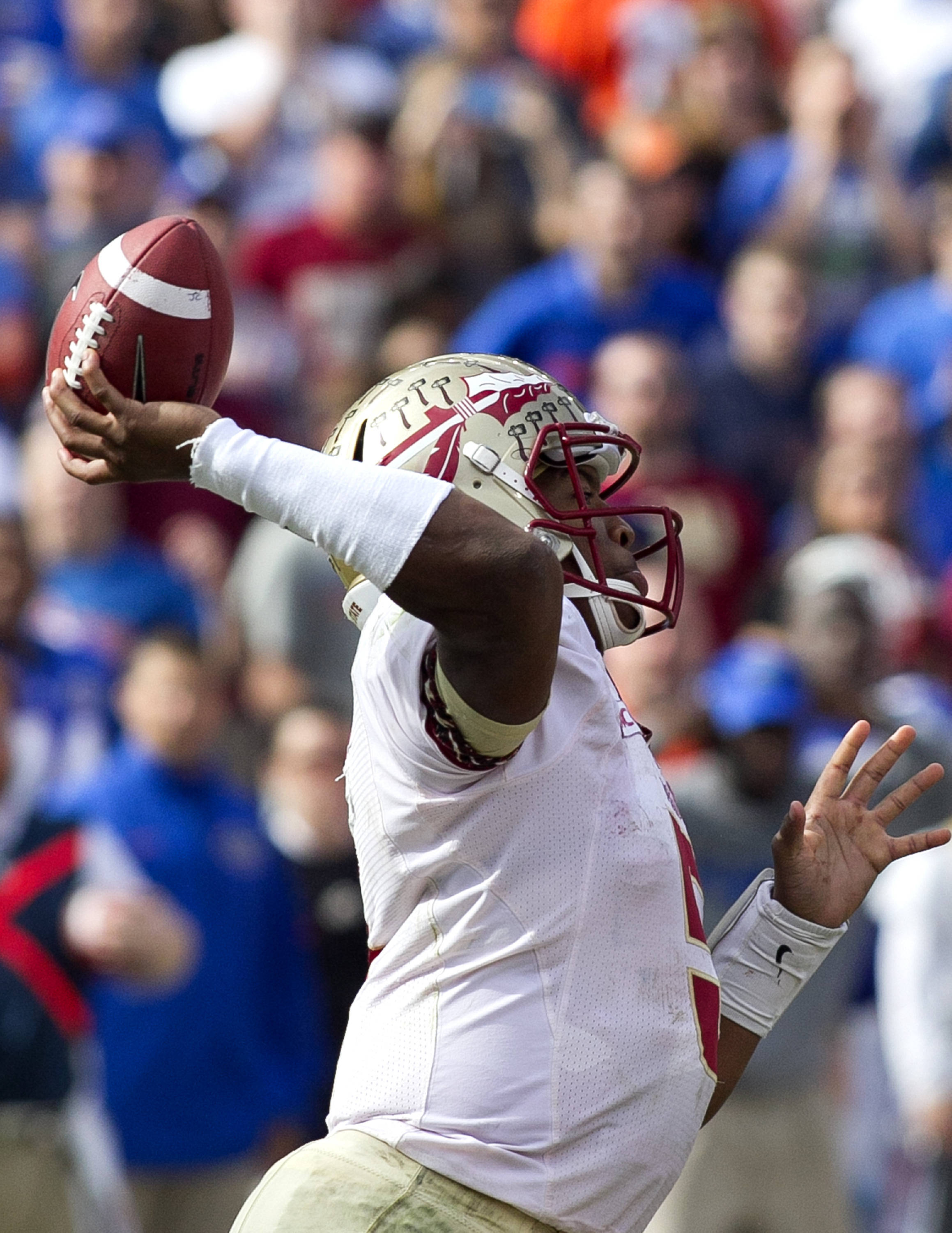 Jameis Winston (5), FSU vs Florida, 11-30-13,  (Photo by Steve Musco)