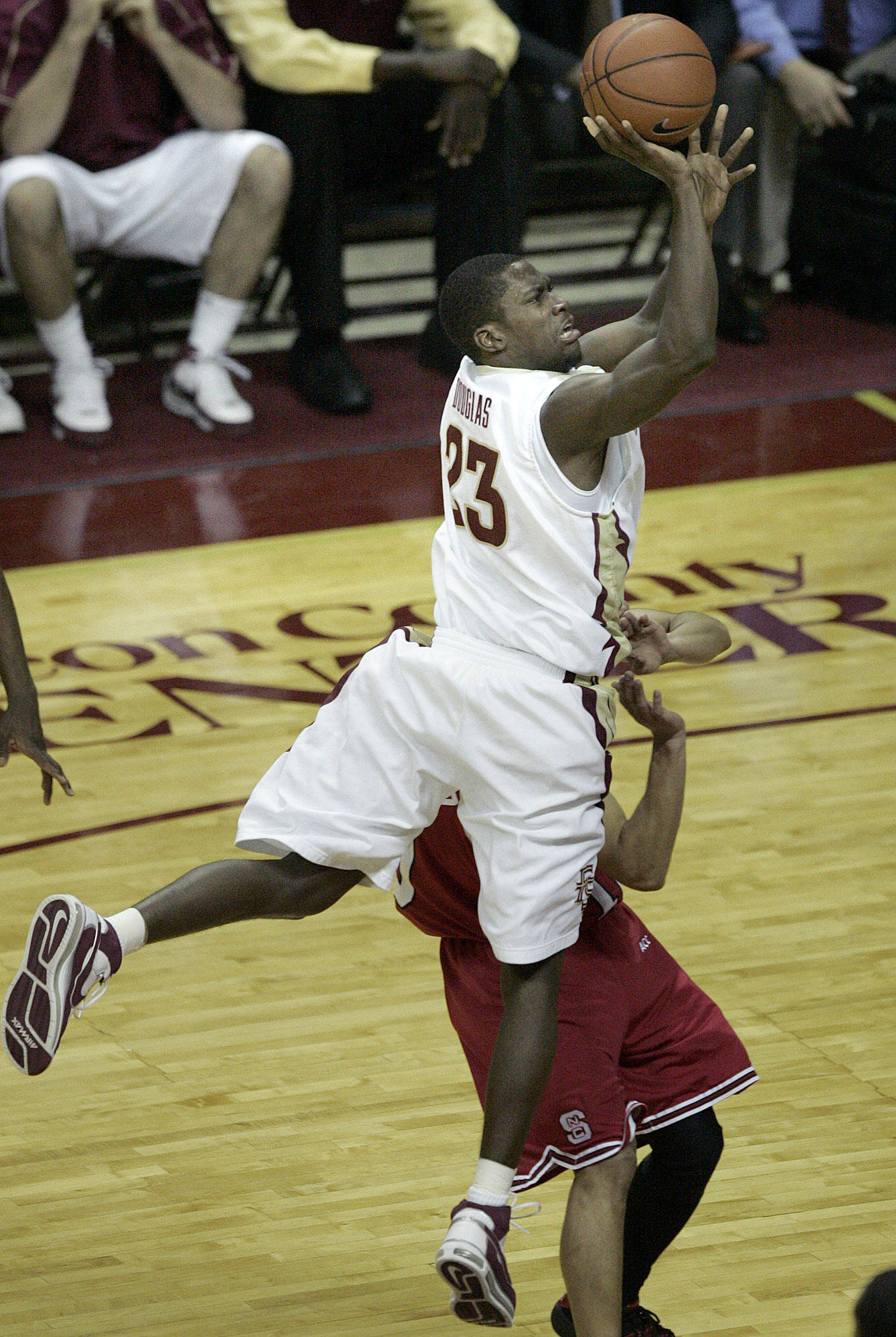 Florida State's Toney Douglas shoots in the 69-66 loss against North Carolina State, 69-66 in a basketball game on Saturday, Jan. 26, 2008 in Tallahassee, Fla.