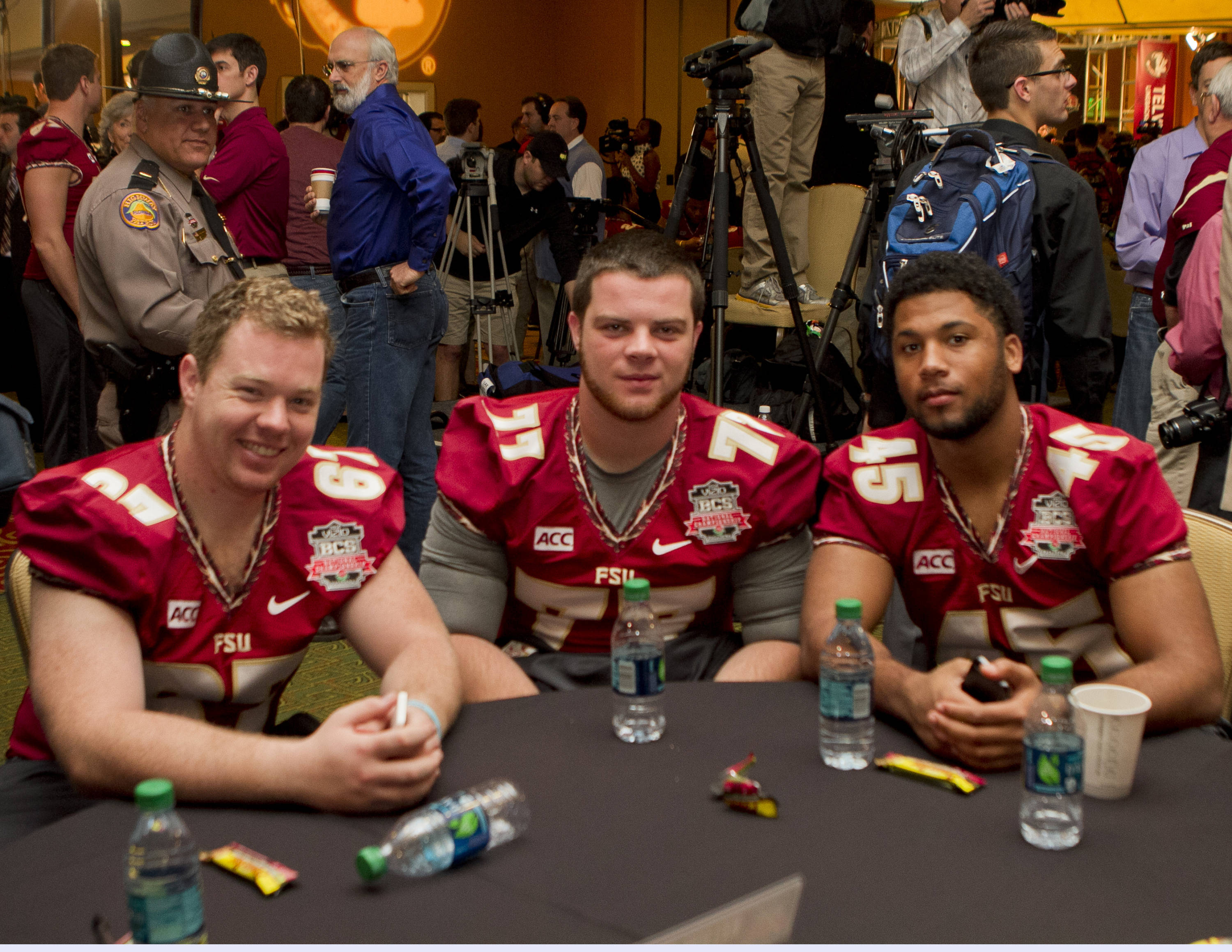 Cody Jay (67), Larry Levy (77), FSU at BCS Championship Media Day,  1-04-14,  (Photo by Steve Musco)
